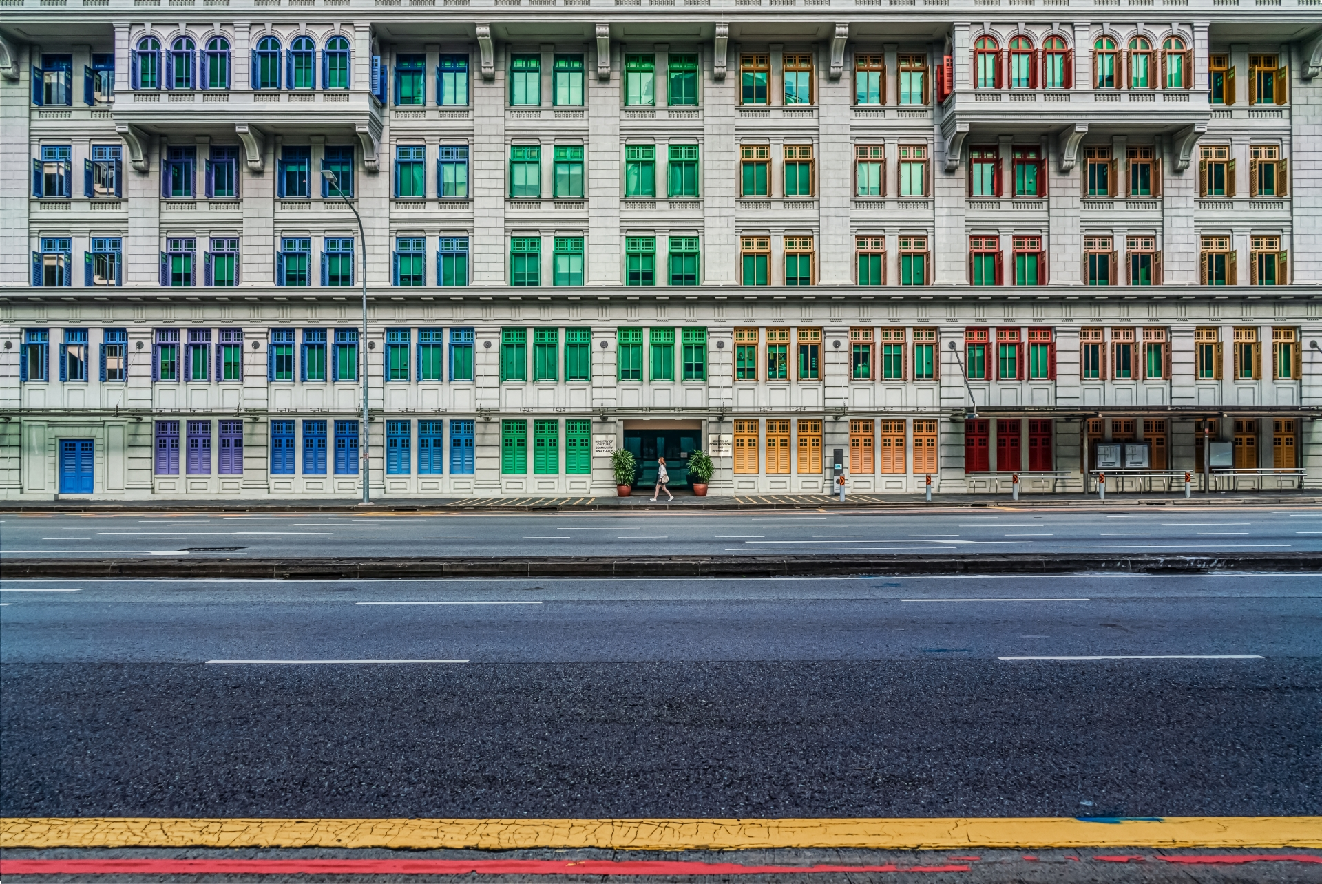 The colourful windows of a building in Singapore