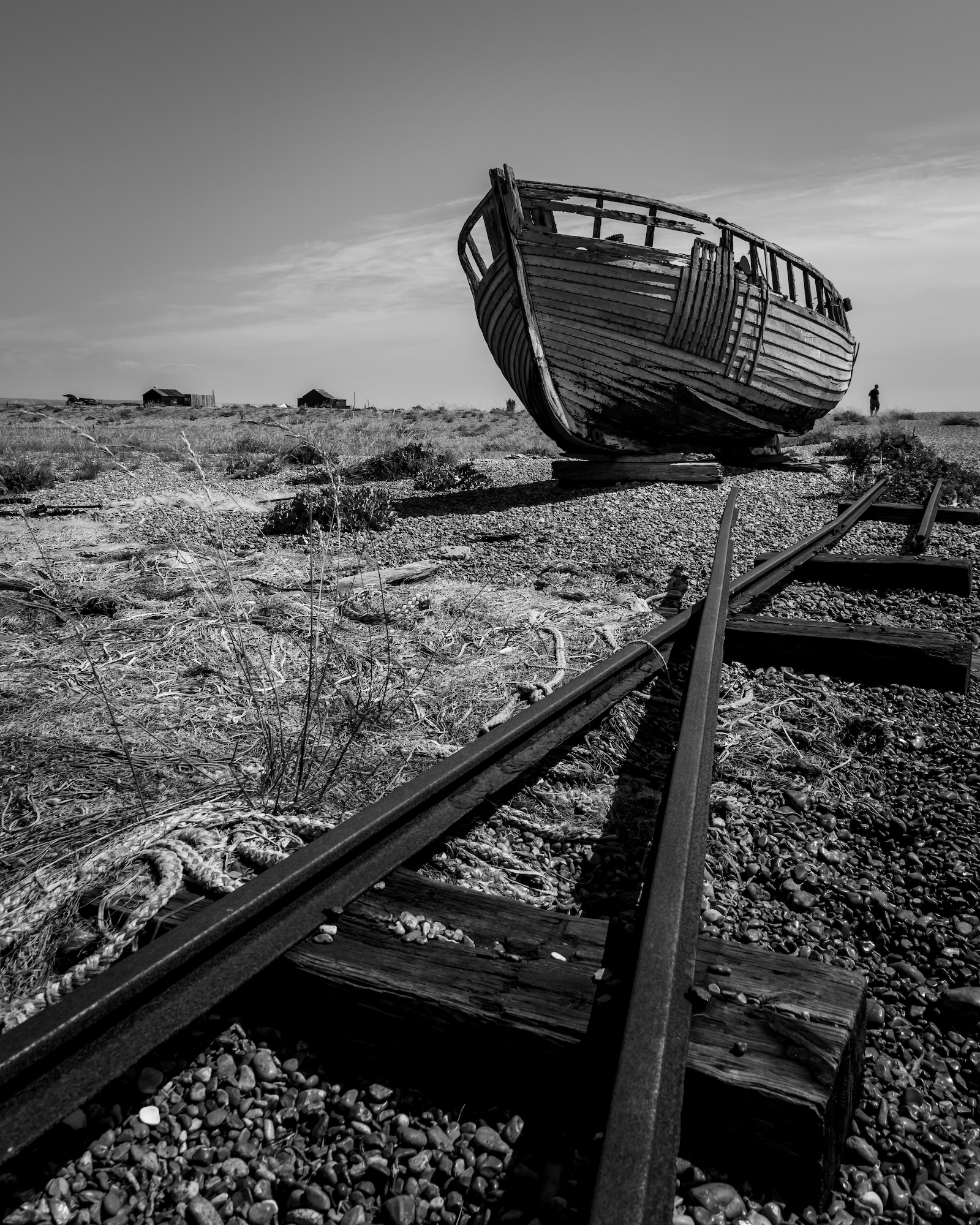 One of the many fishing boats left to rot on the beaches at Dungeness.