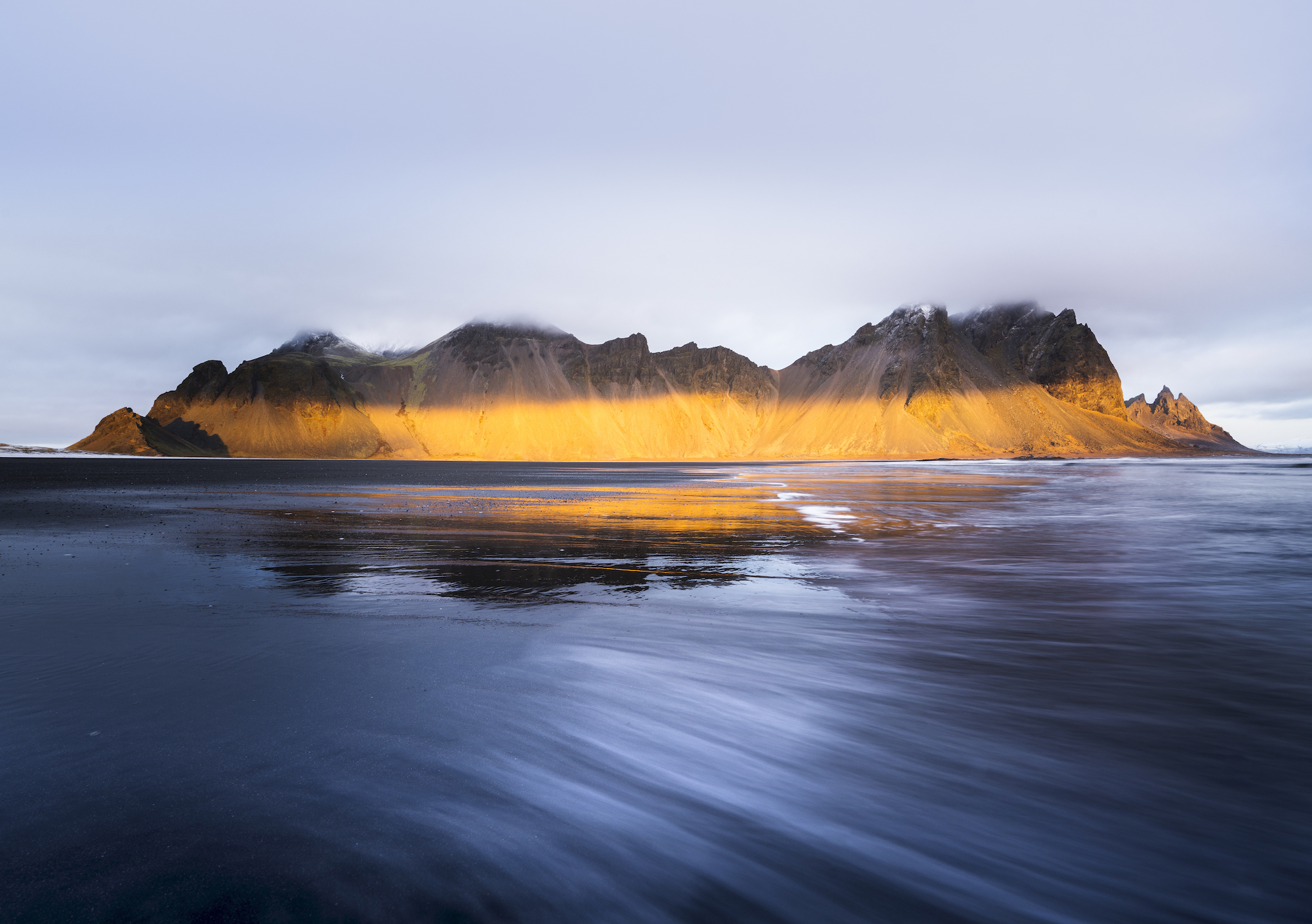 A dramatic shot of the gorgeous Stokksnes in amazing winter light