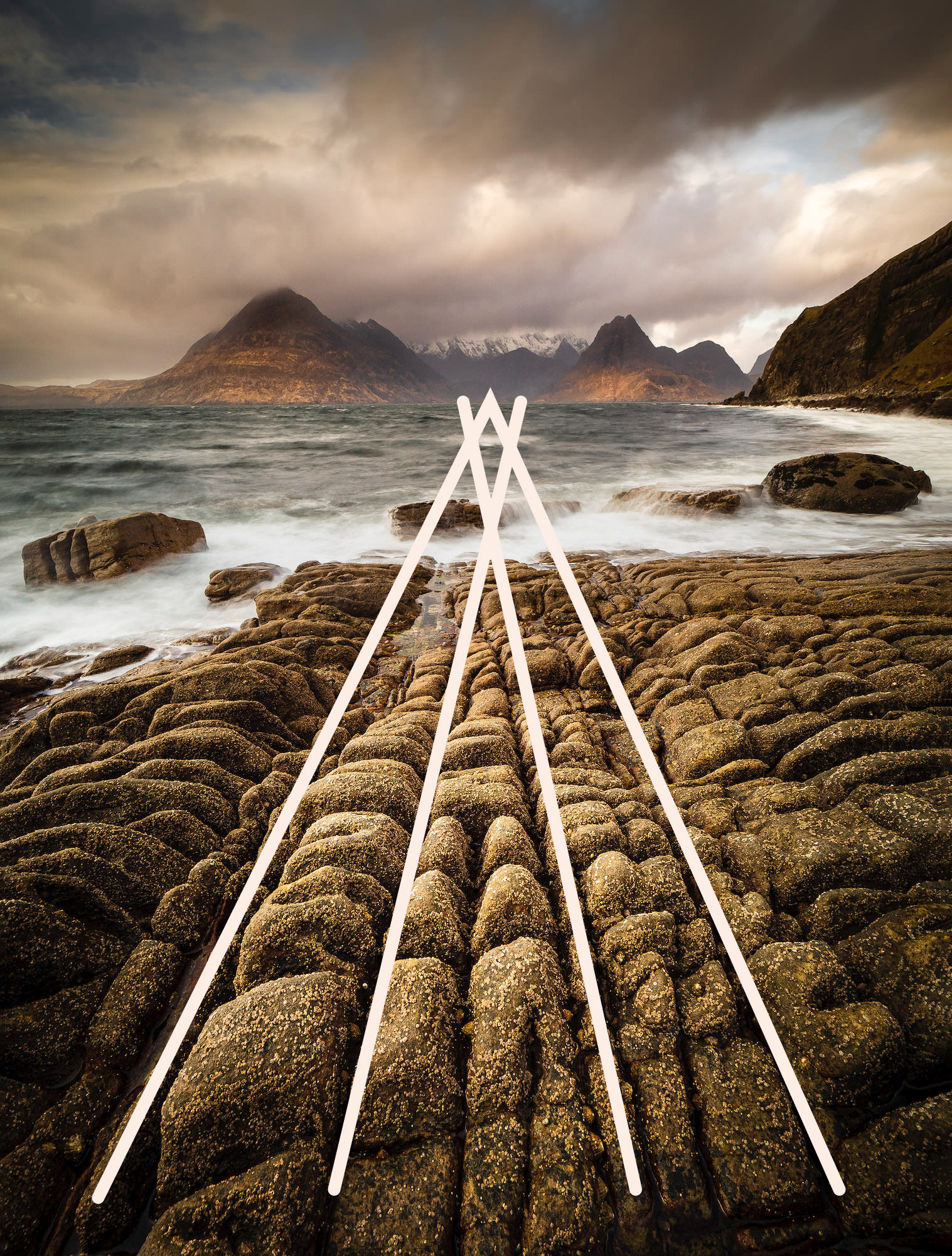 Lines in the rocks at Elgol leading to the Black Cullin mountains across the bay with added leading lines to show the compositional technique