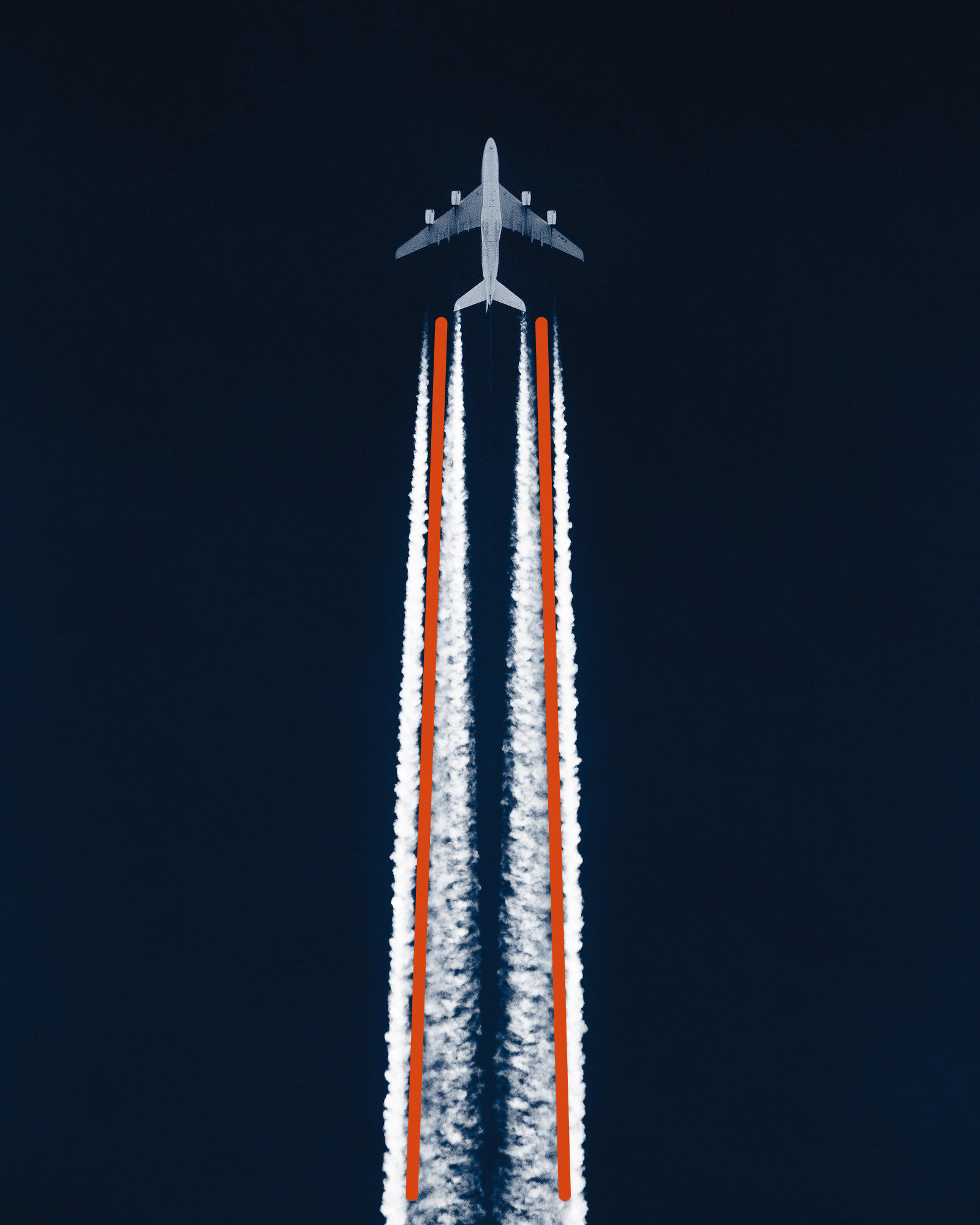 Passenger airplane cruising in the sky leaving contrails behind it, with added leading lines showing the compositional technique