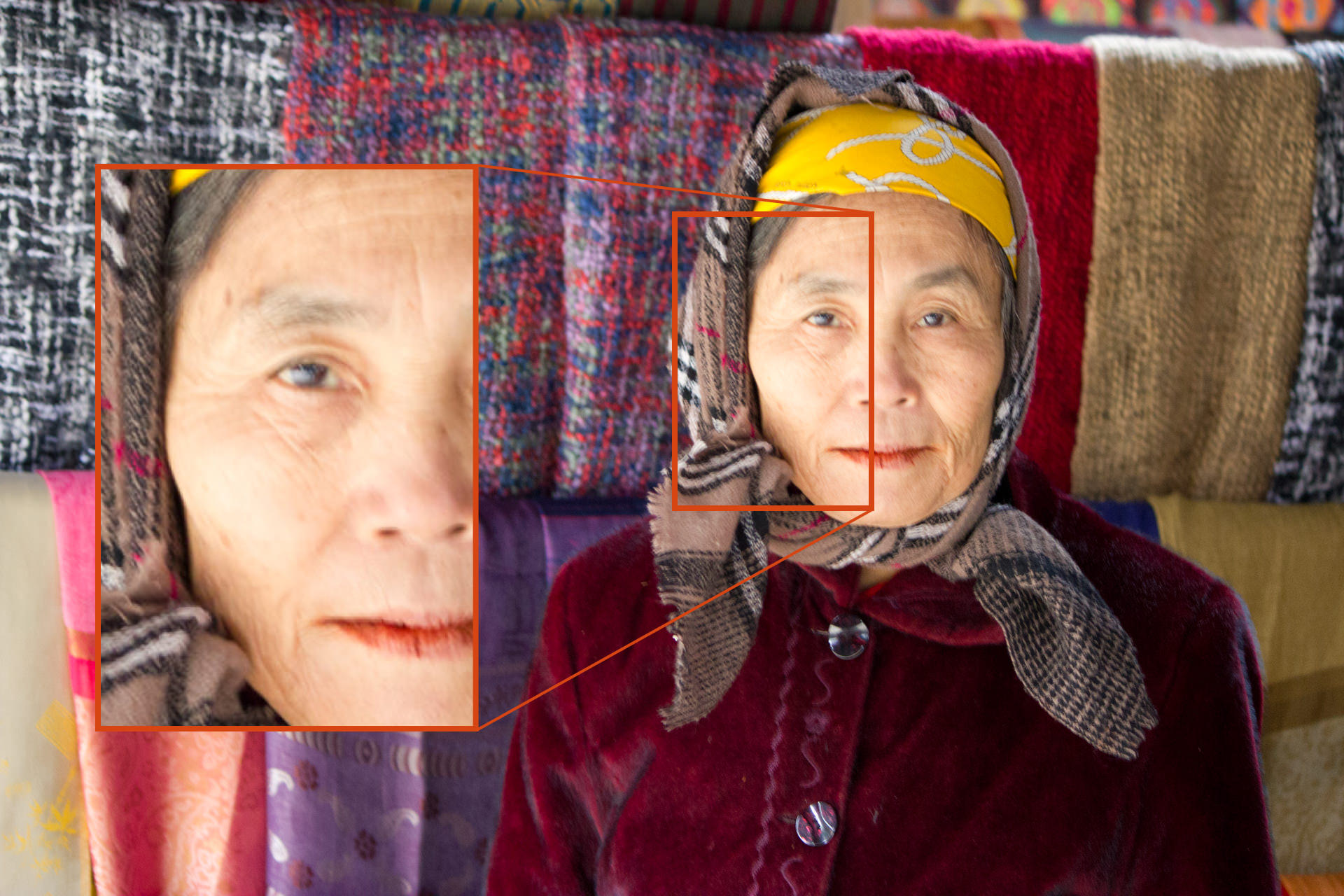 A blurred portrait of an old woman as a result of camera shake