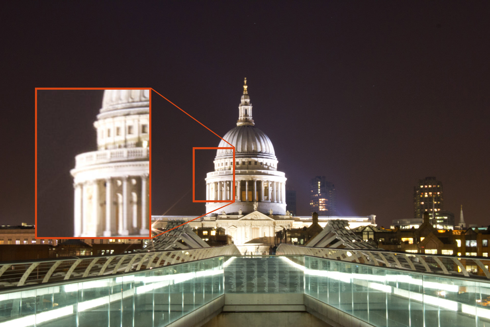 A blurred image of St. Paul's Cathedral, London, at night. The blur is caused because the mirror in the DSLR was not locked