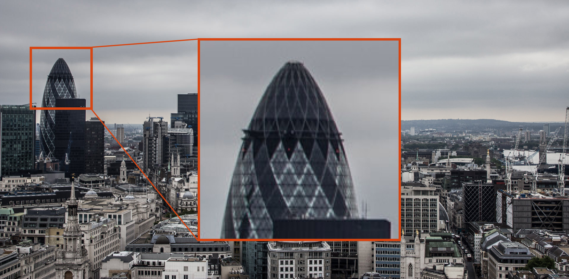 Zoomed in view of The Gherkin, London, caused by a low aperture