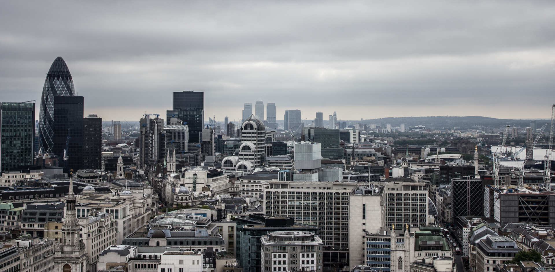 The London skyline from St. Paul's Cathedral on an overcast day