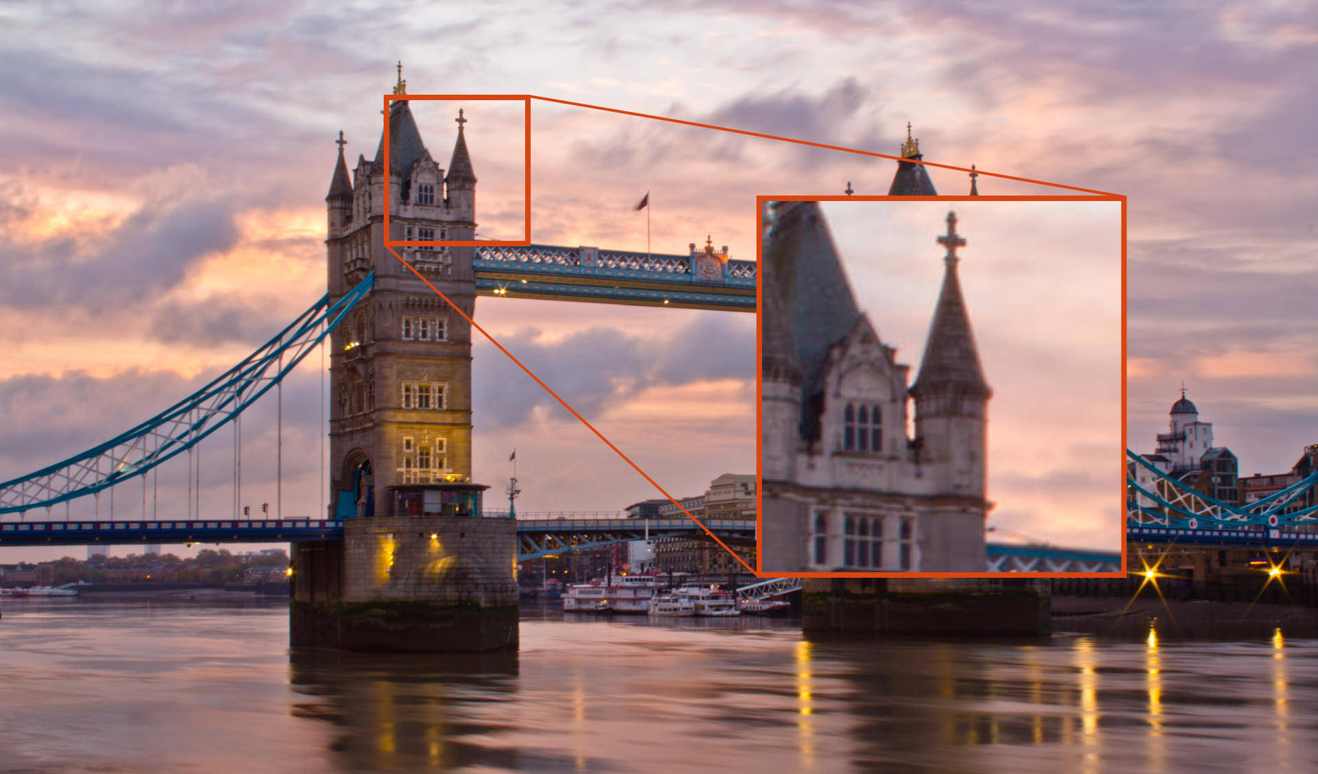 A blurred view of tower bridge caused by diffraction