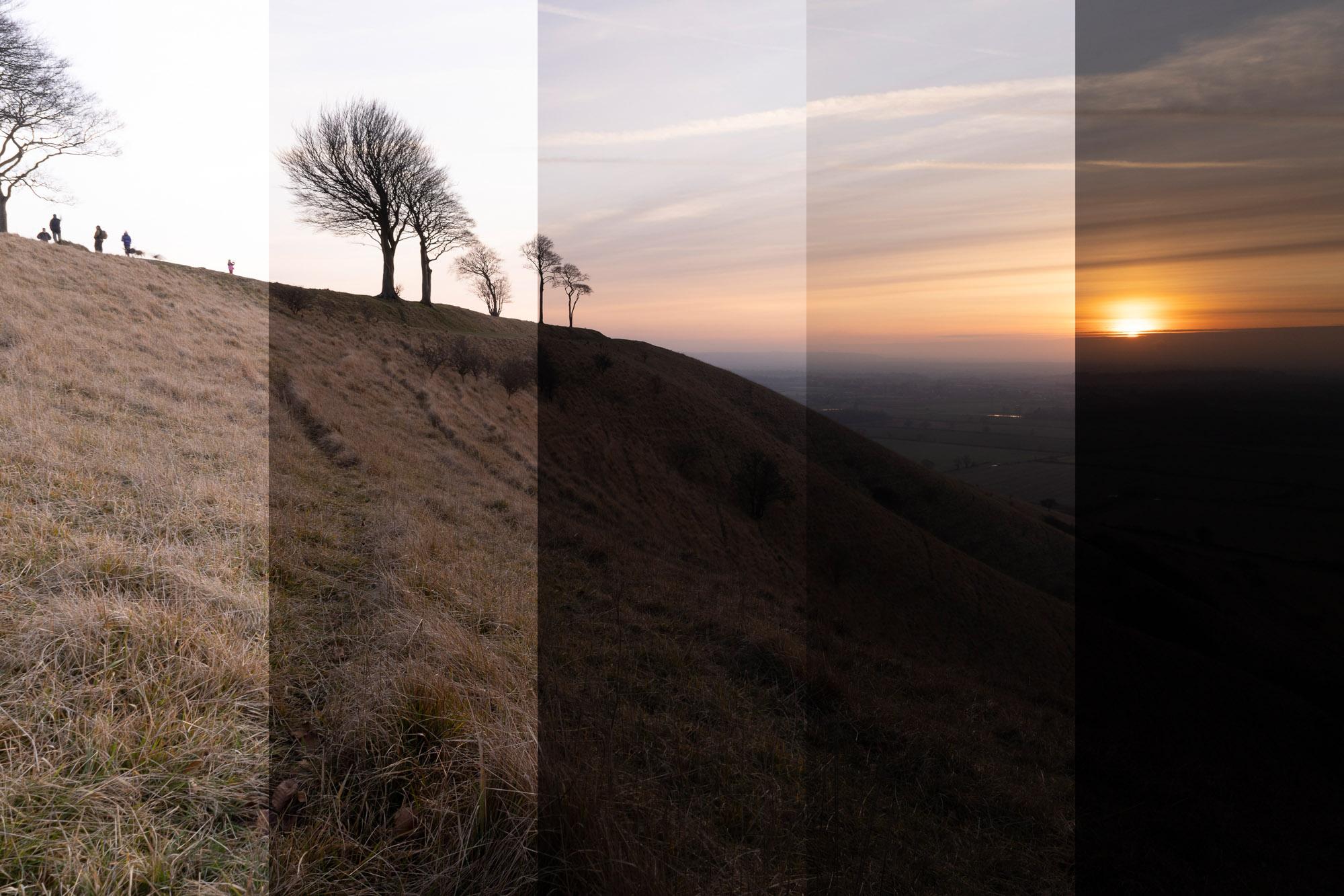 A bracketed landscape scene