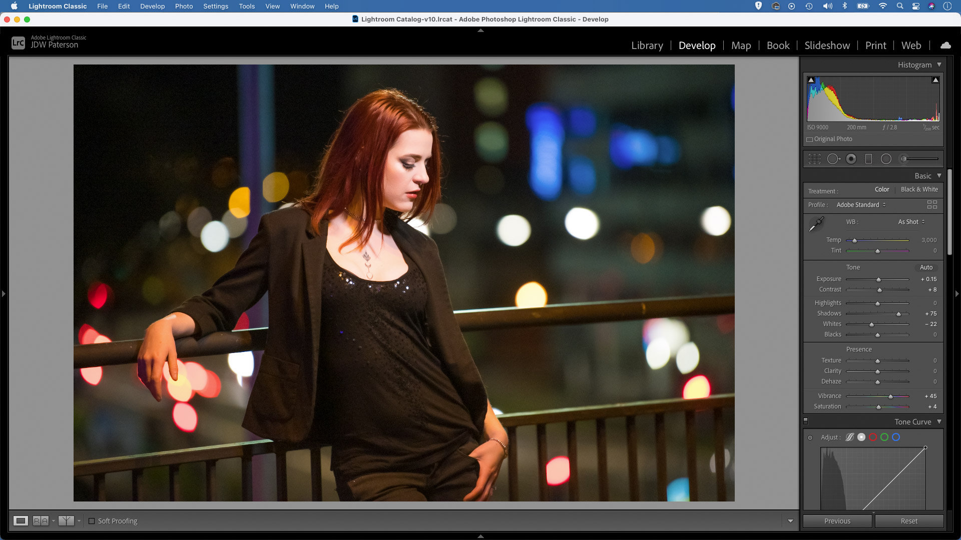 Screenshot of an image in Adobe Lightroom showing the histogram feature