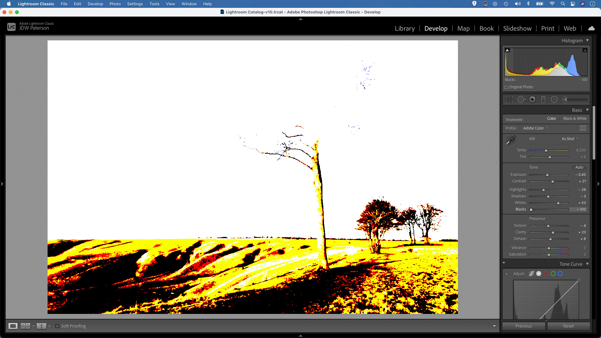 Screenshot in Adobe Lightroom showing clipped areas of an image