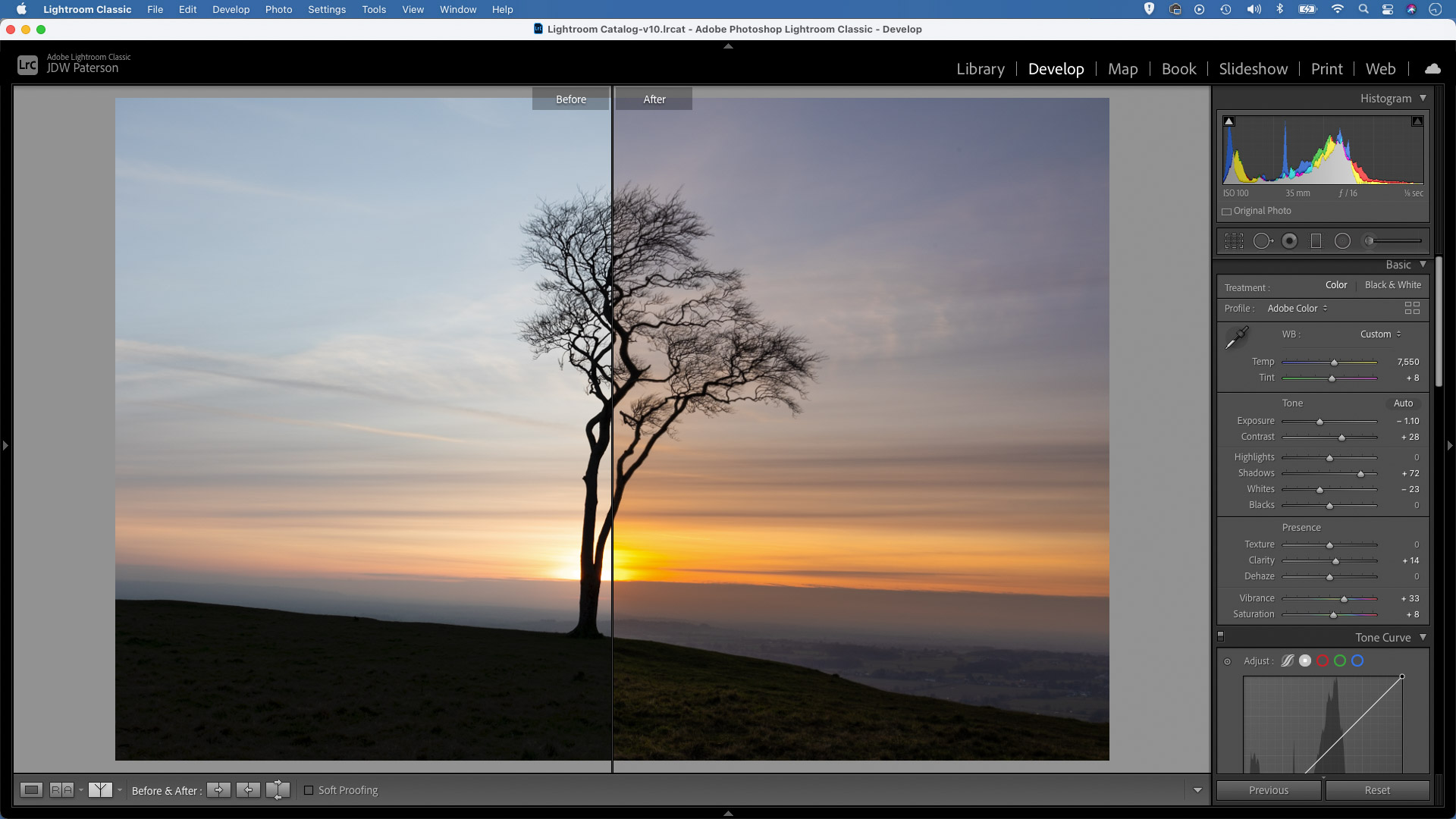 """Screenshot in Adobe Lightroom showing an image captured with the """"Expose to the right' technique"""