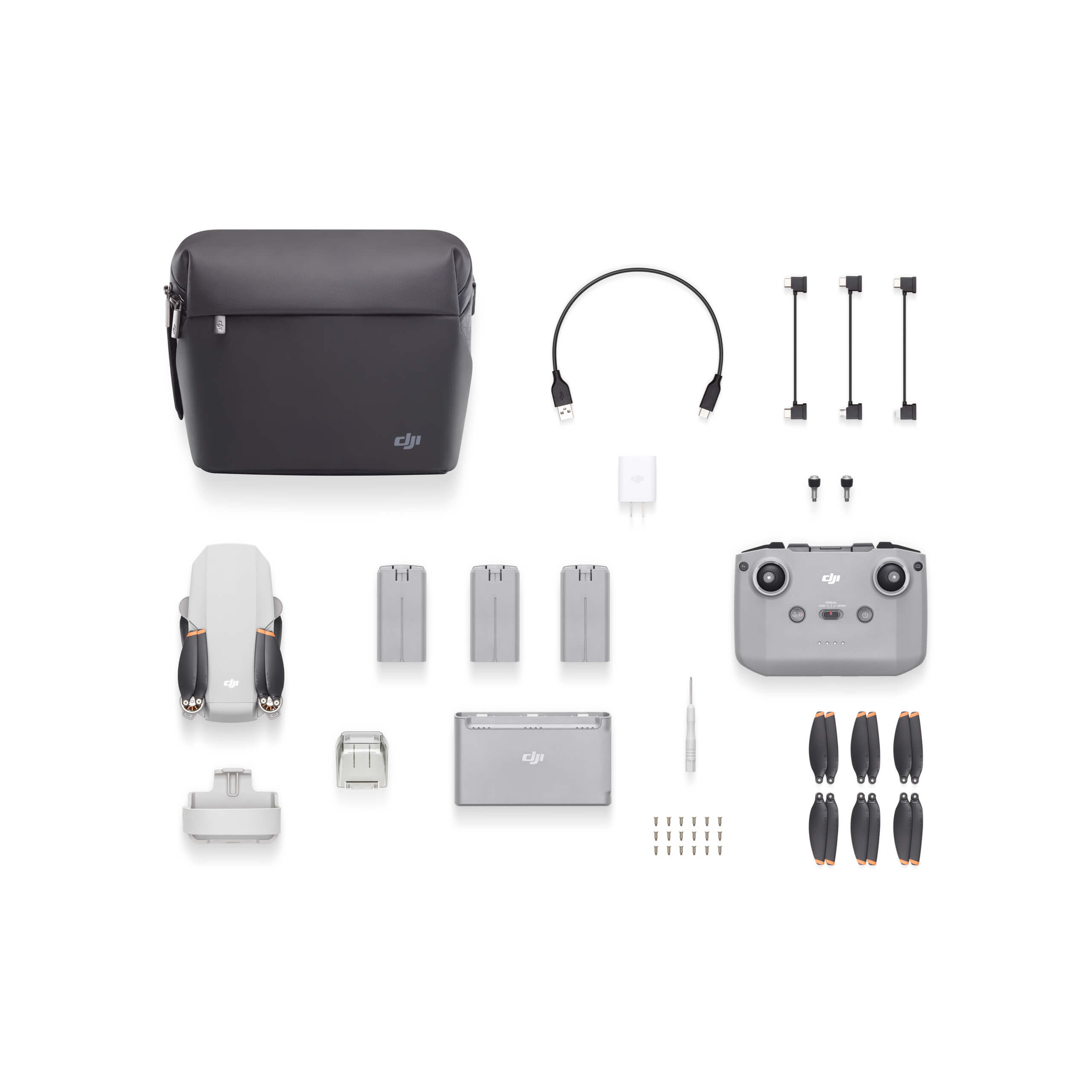 Overhead view of drone photography kit