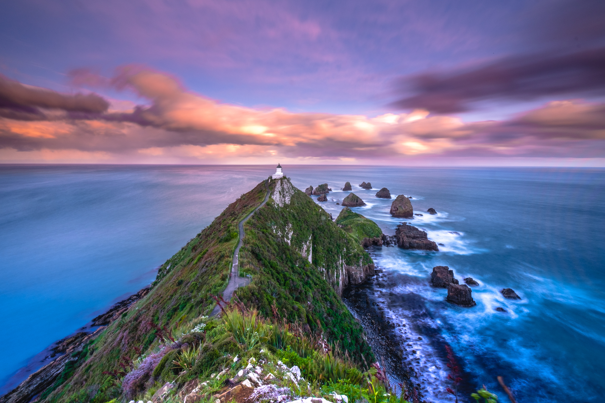 Colourful sunset at Nugget Point lighthouse; Otago, New Zealand