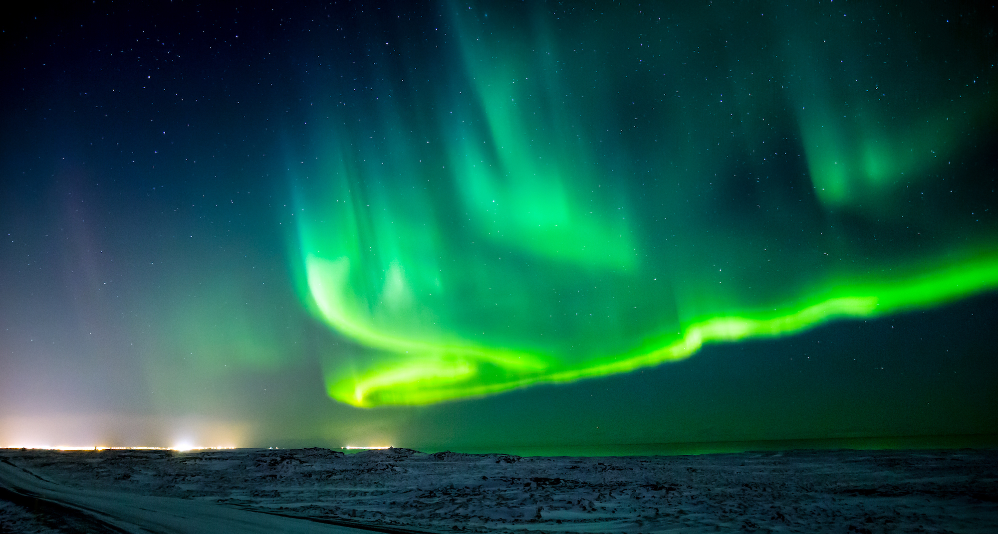 Composition of the Northern Lights over Iceland with a low horizon