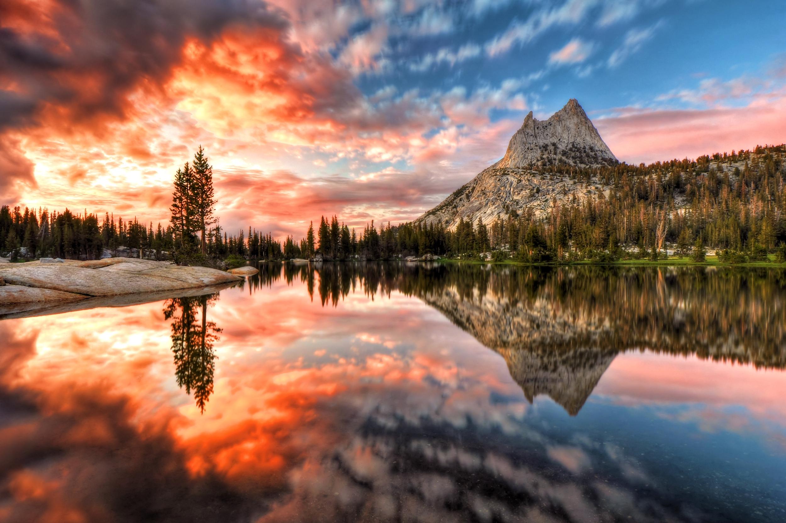 Last light at Cathedral Lake, Yosemite National Park, California