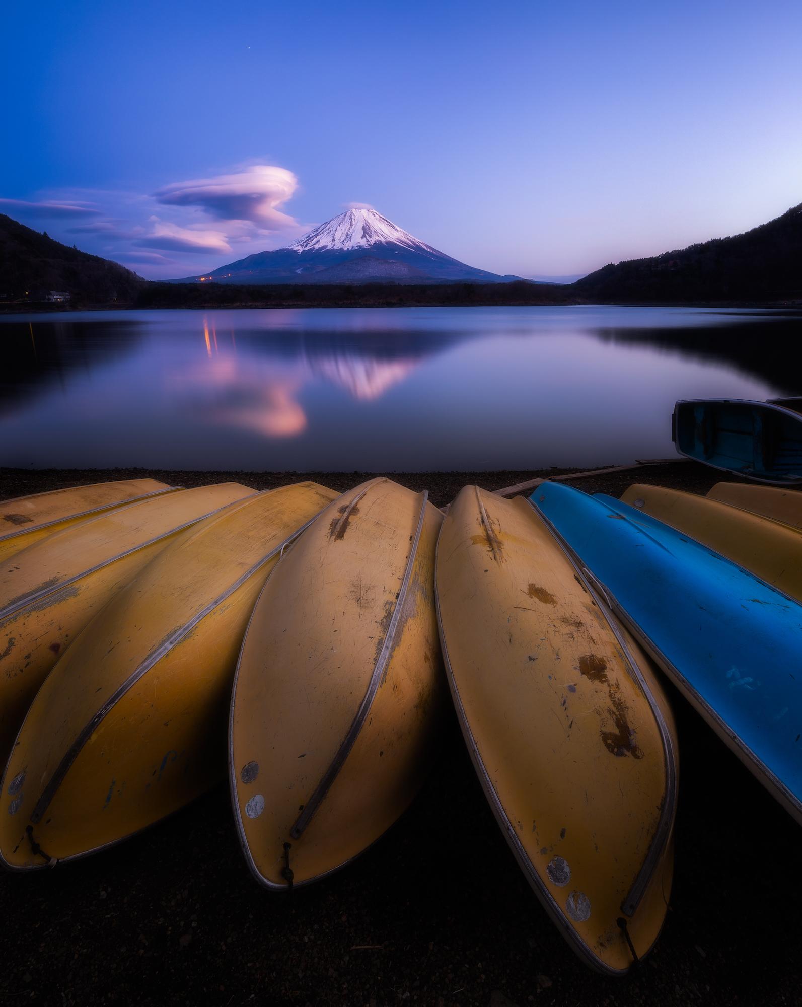 Sunset reflections at Lake Shoji, Japan