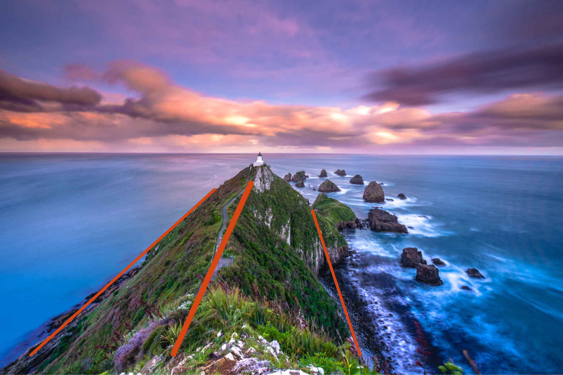 Landscape composition with leading lines guiding the viewer to the Lighthouse