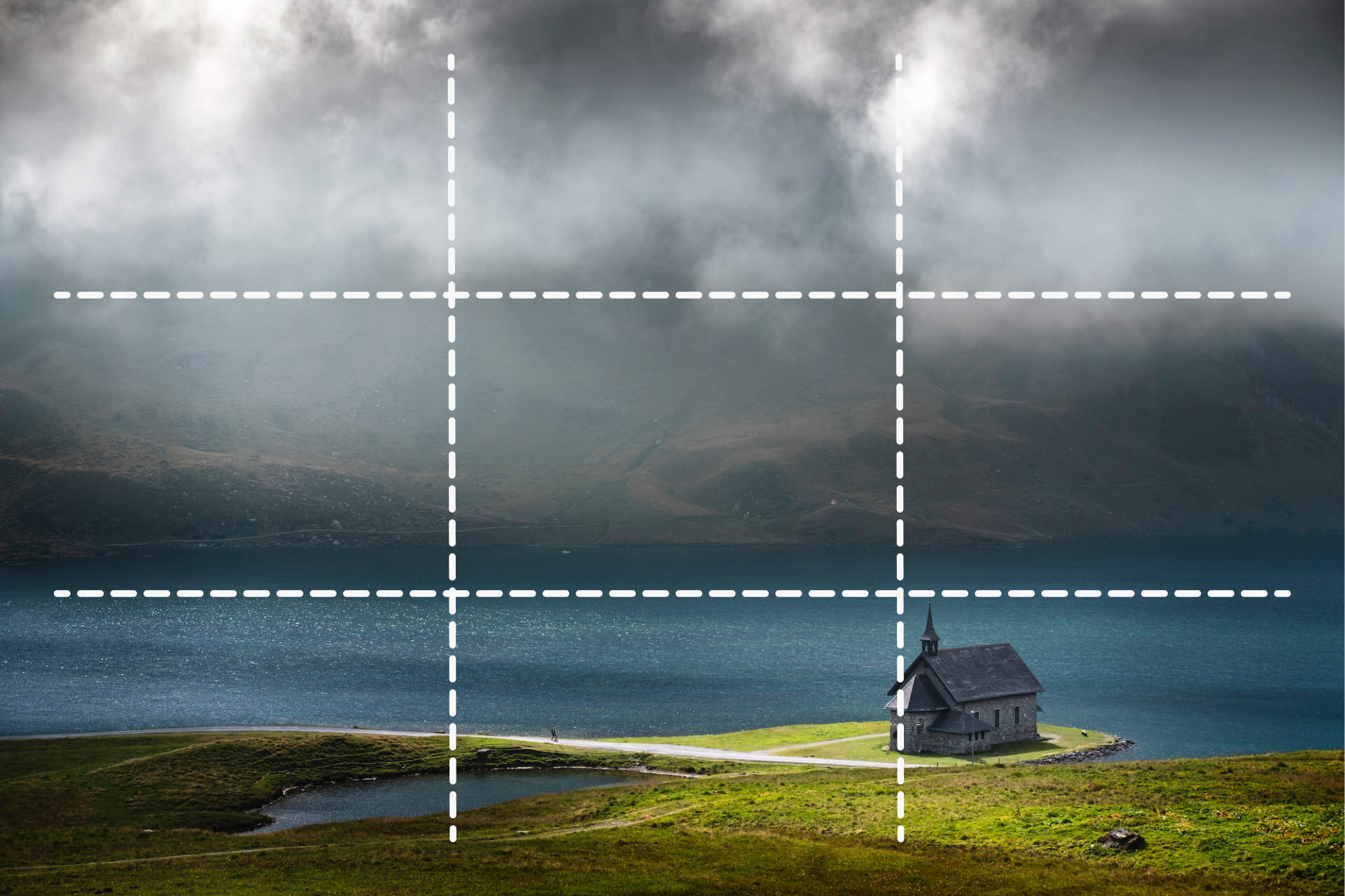 Compositional layout showing the rule of thirds in the scene