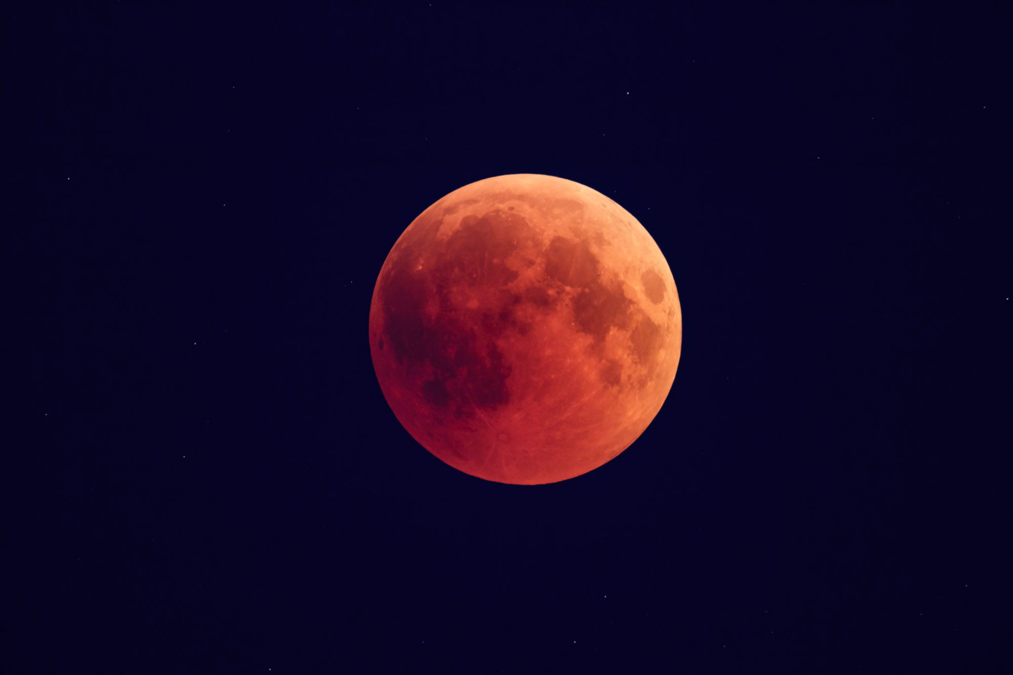 The blood moon in full view