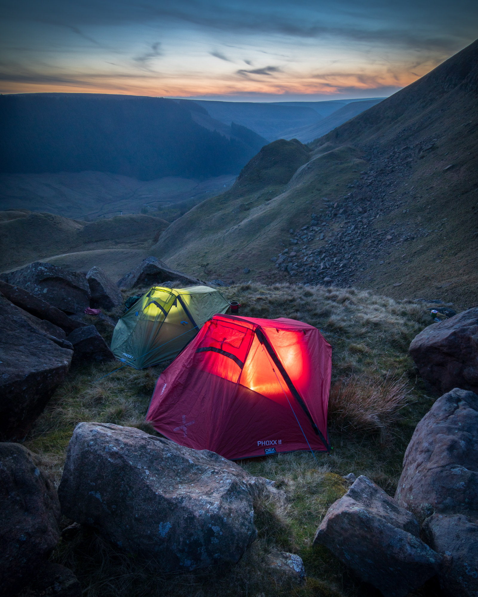 Wild camping in the Peak District, England