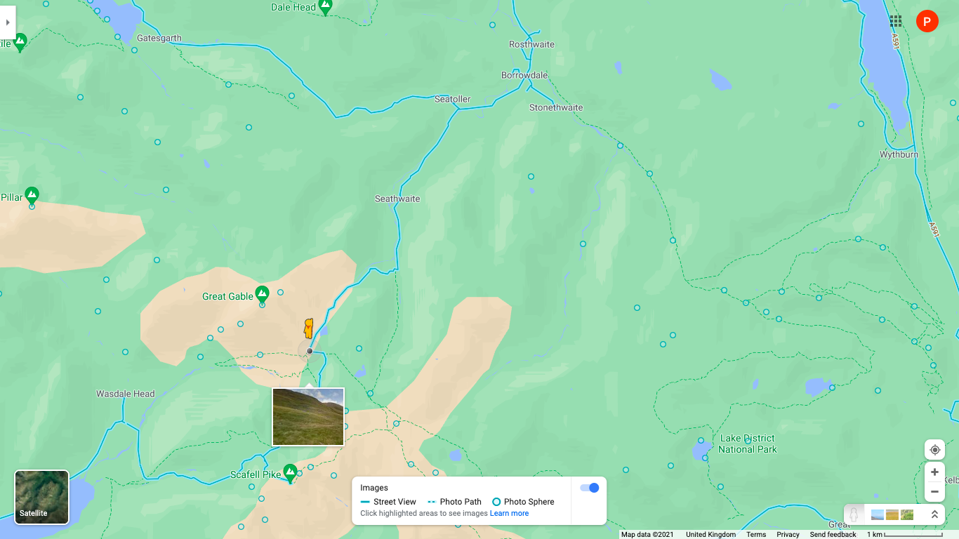 Map view of the Lake District, England