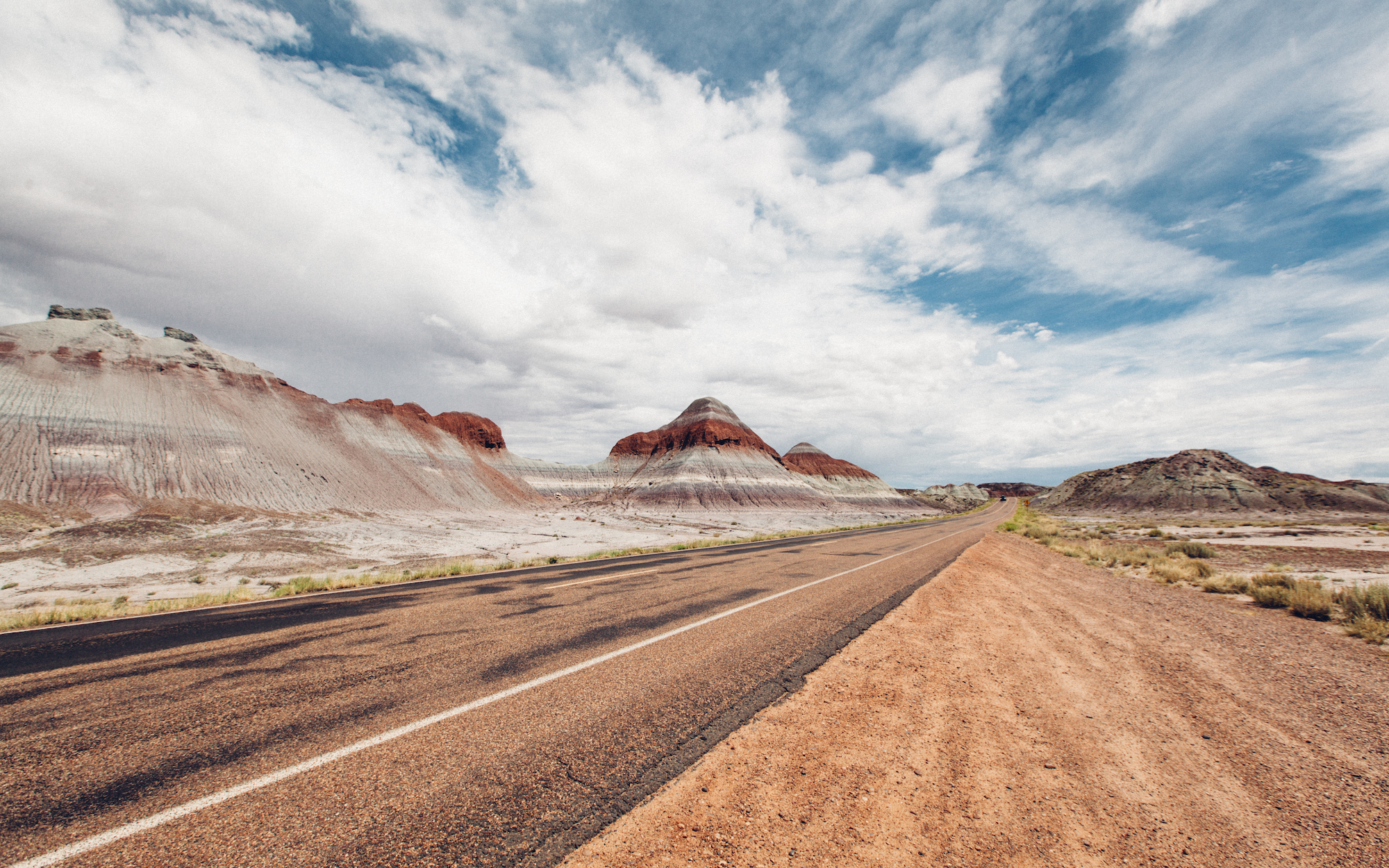 Driving around the Petrified Forest National Park in New Mexico