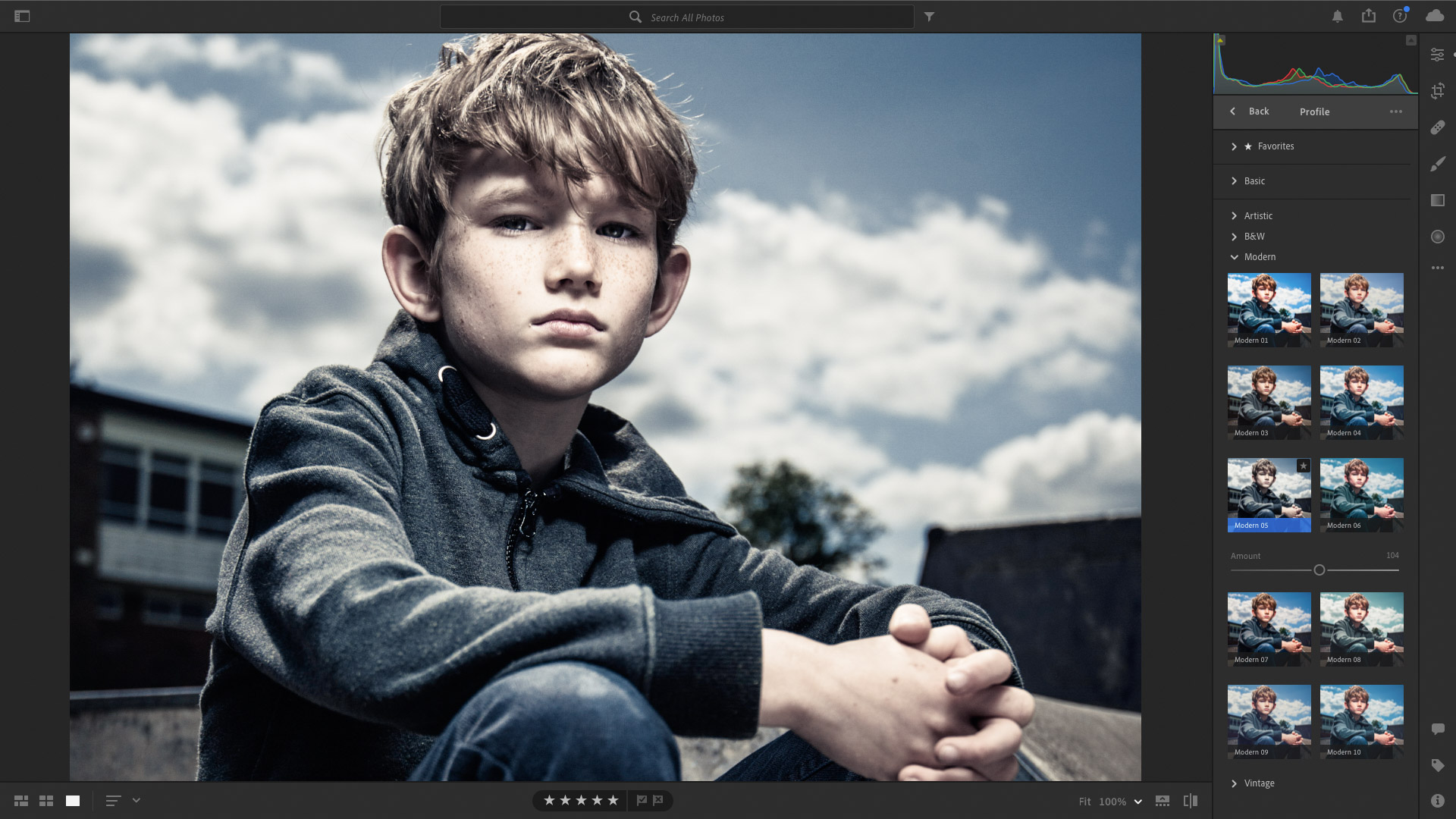 Creating a muted look with profiles in camera raw Lightroom