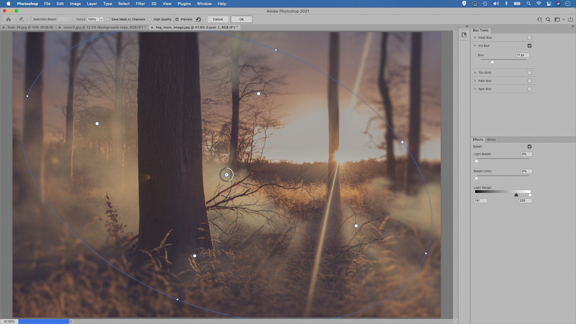 Adding blurred edges in Photoshop to create an out-of-focus effect