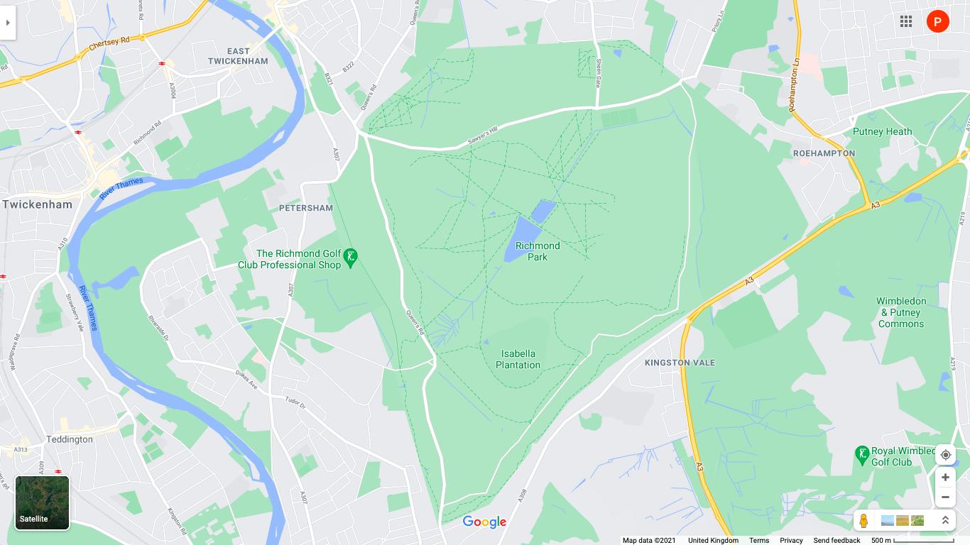Map view of Richmond Park London
