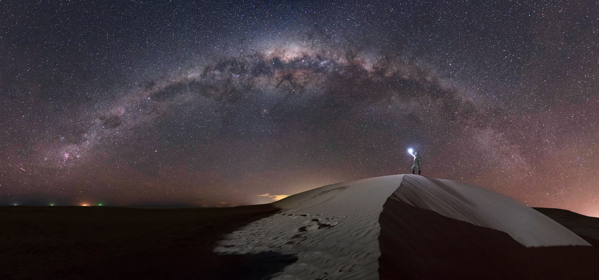 Astrophotography under the Milky Way at Monte Hermoso, Argentina