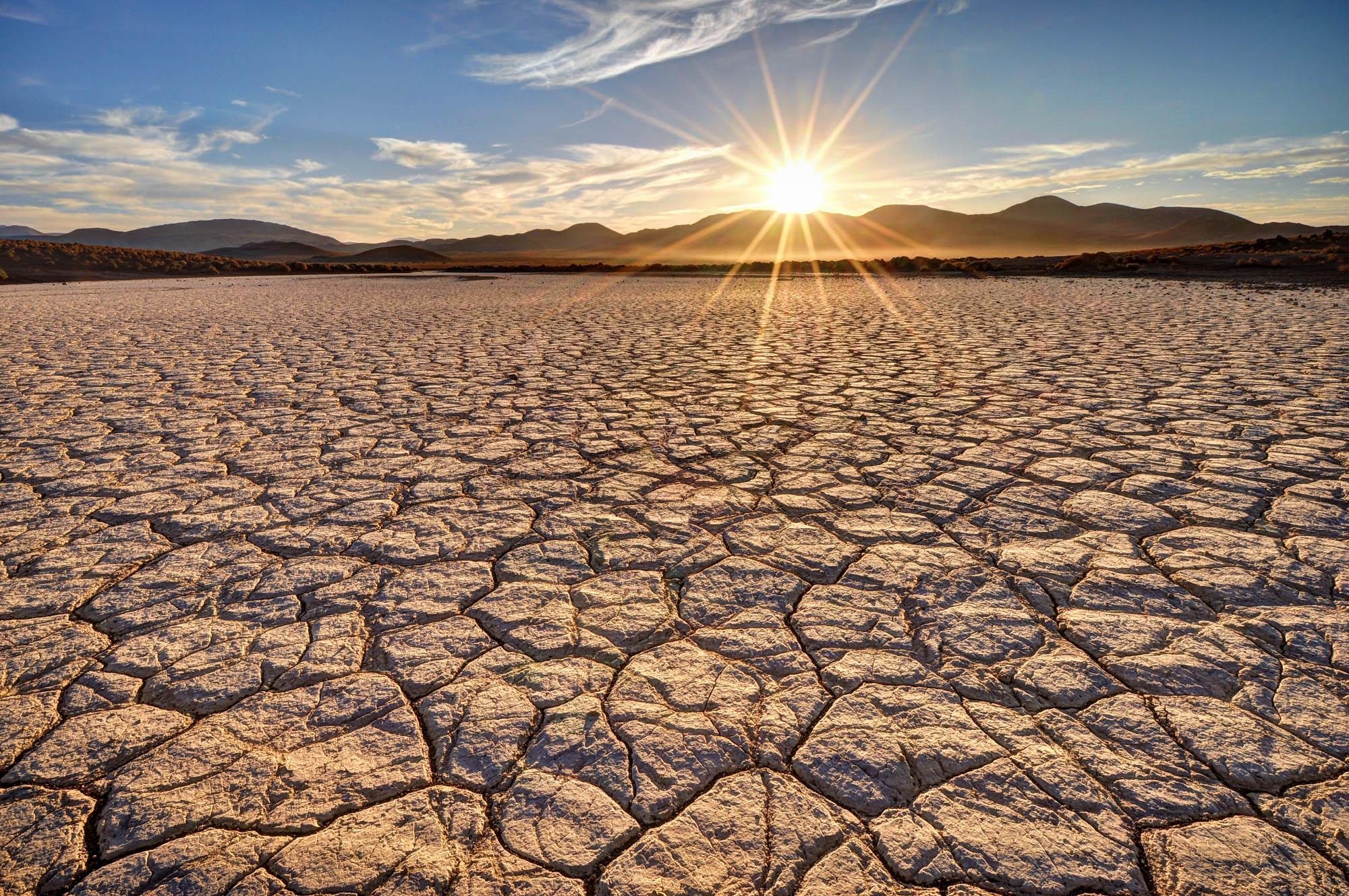 Sunrise in the Mojave Desert at Fossil Falls National Historic Site, California