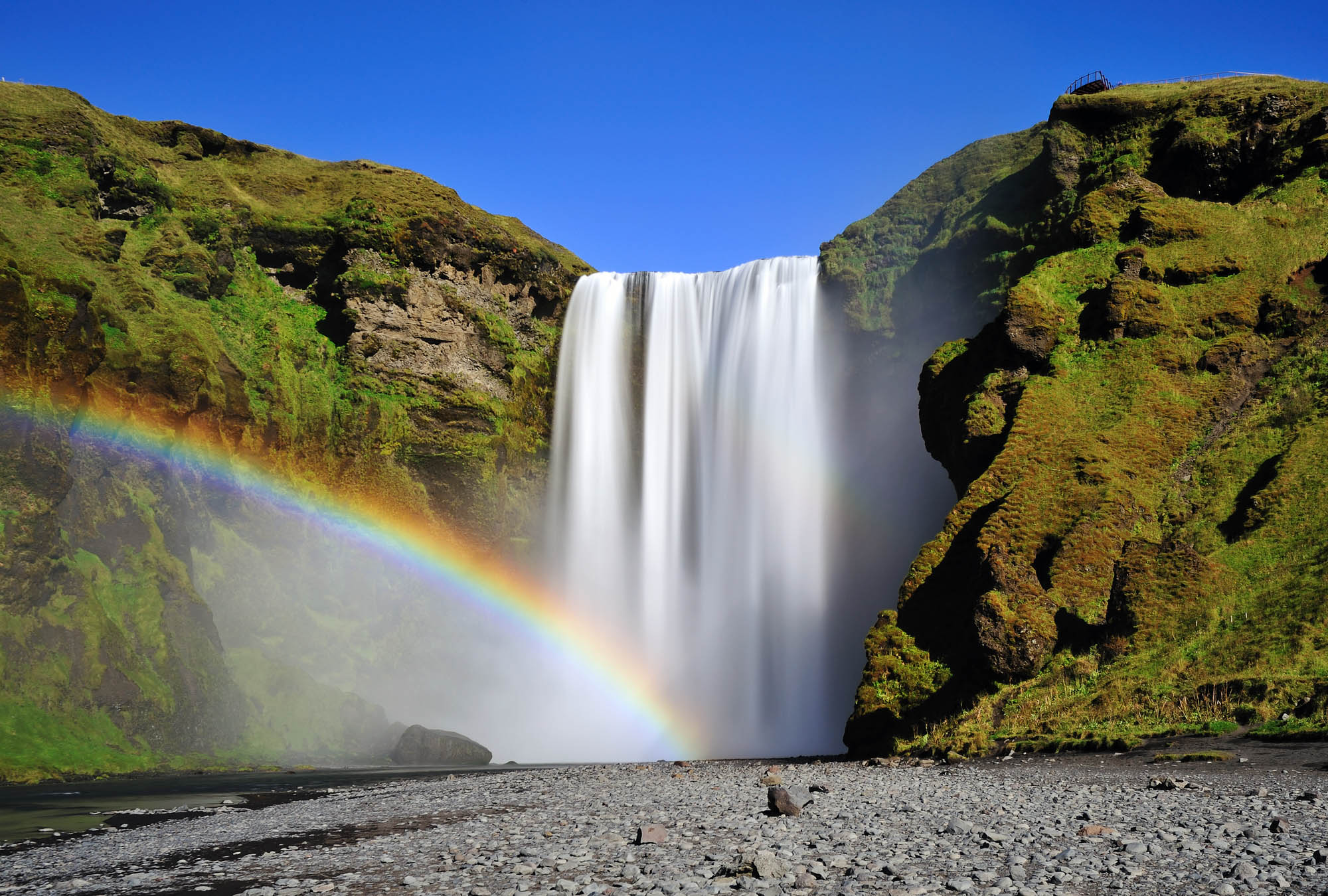 Long exposure of famous Skogafoss waterfall in Iceland