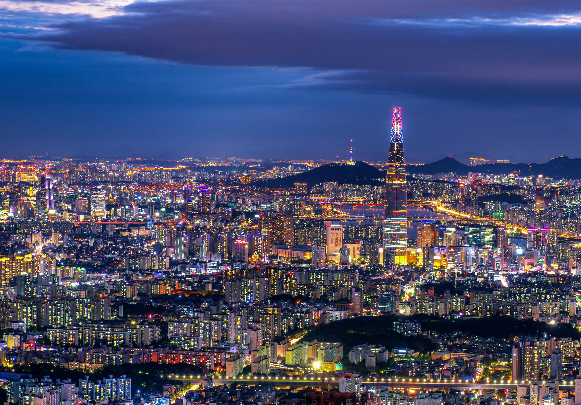 Seoul city at night, South Korea