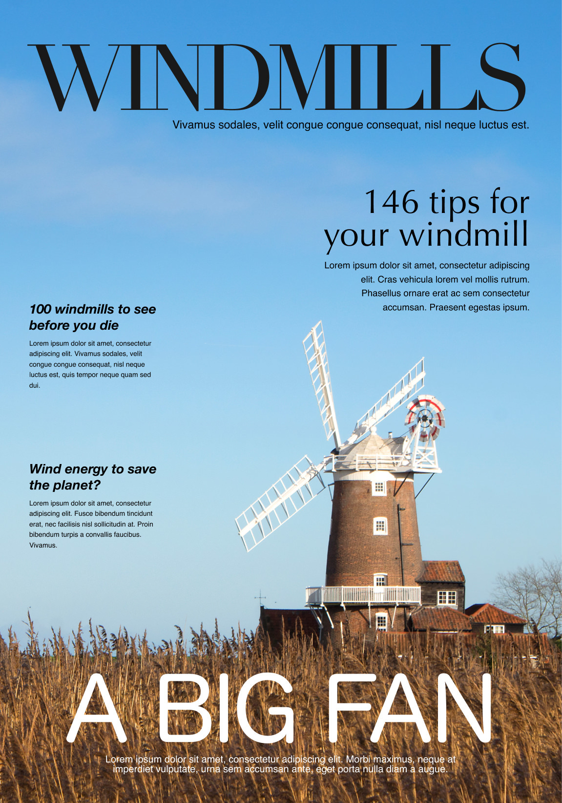 Mock up of a magazine cover featuring the image of a windmill