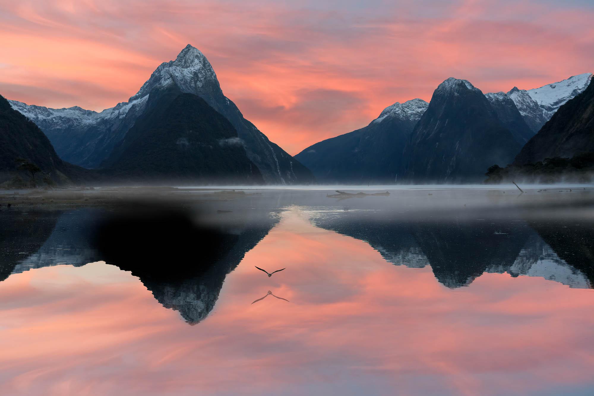 Sunrise at Milford Sound, New Zealand
