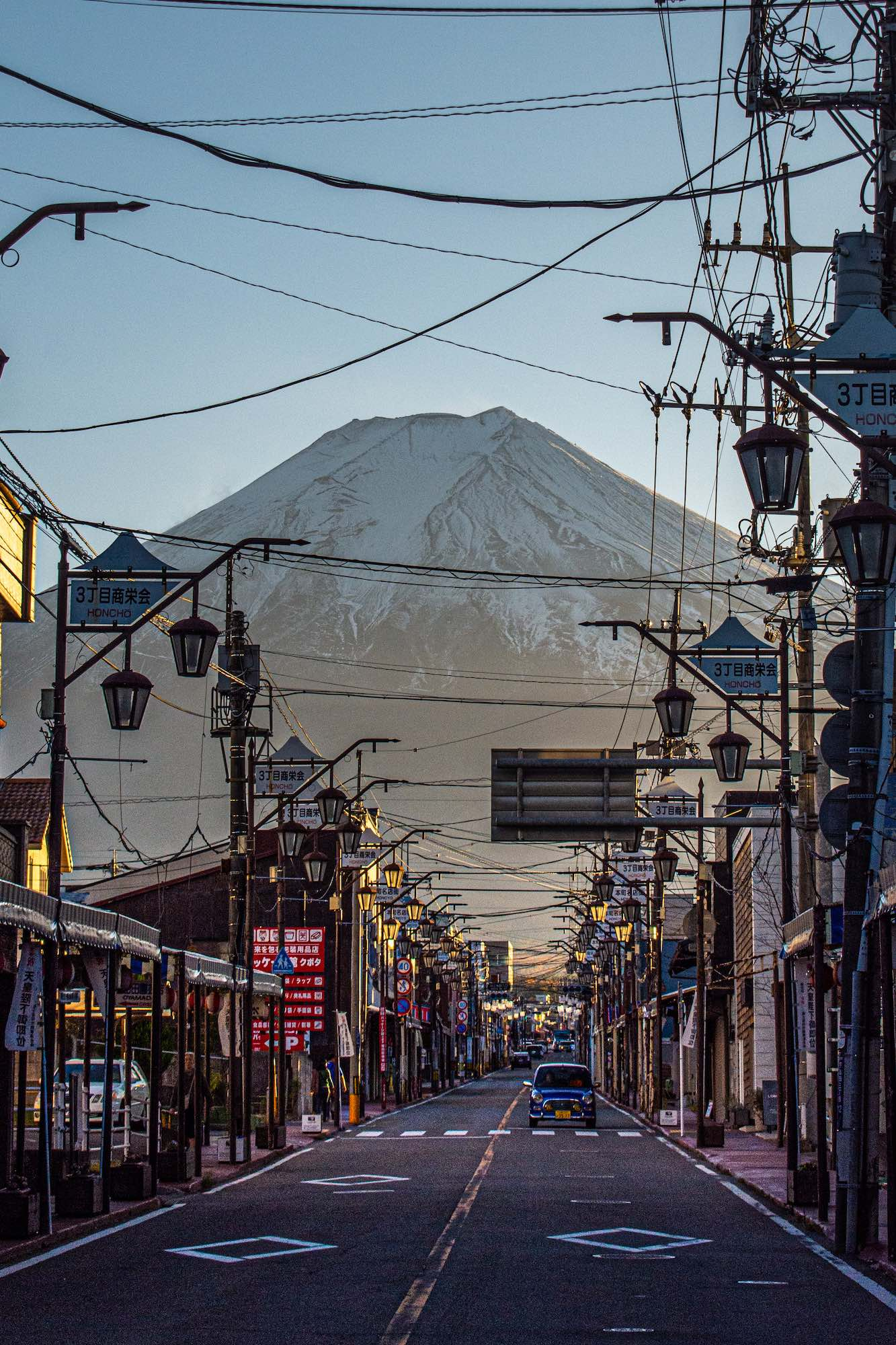 Road and street leading to Mt. Fuji, Japan