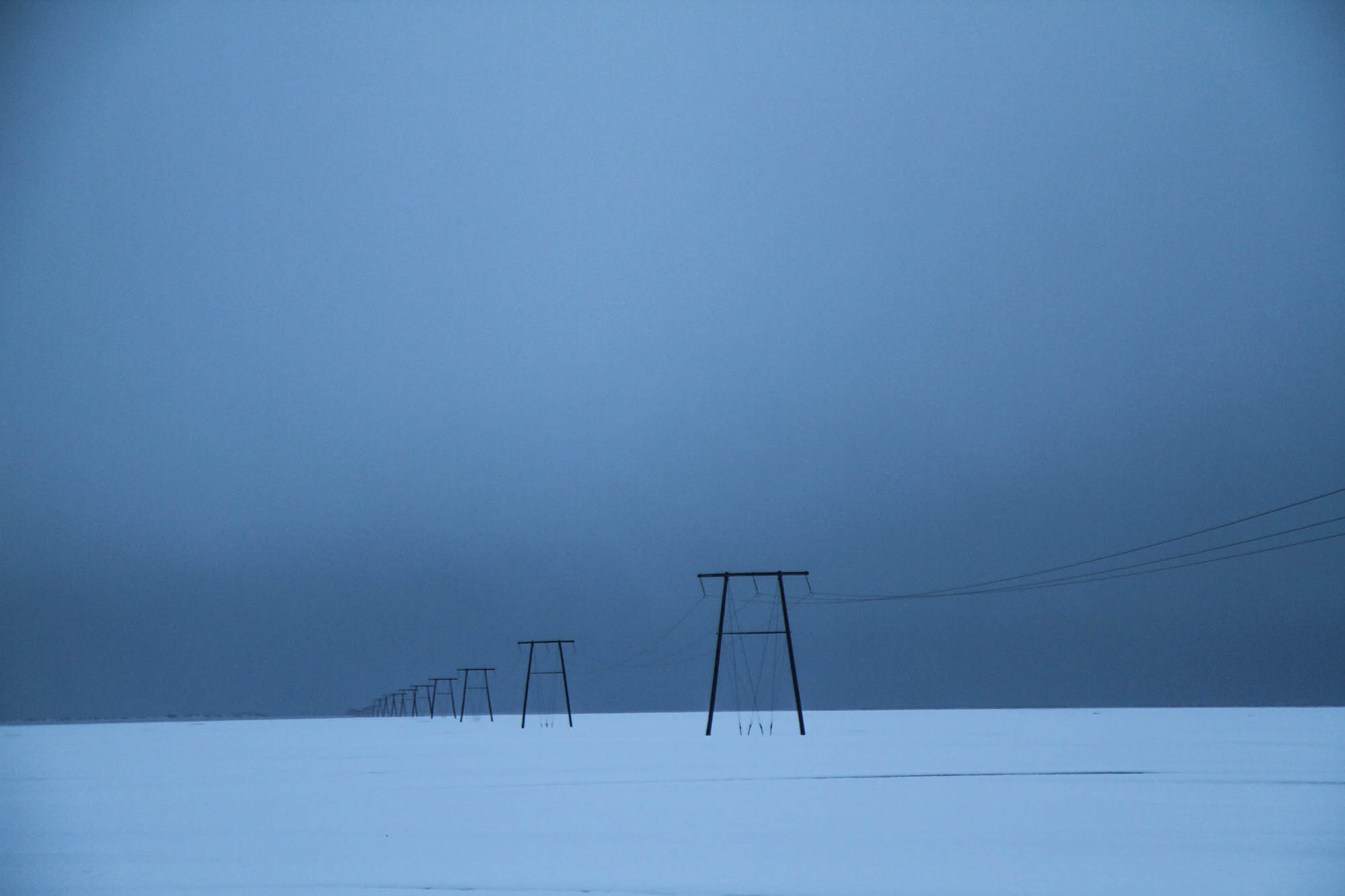 Pylons stretch into the eerie grey of the Icelandic winter.