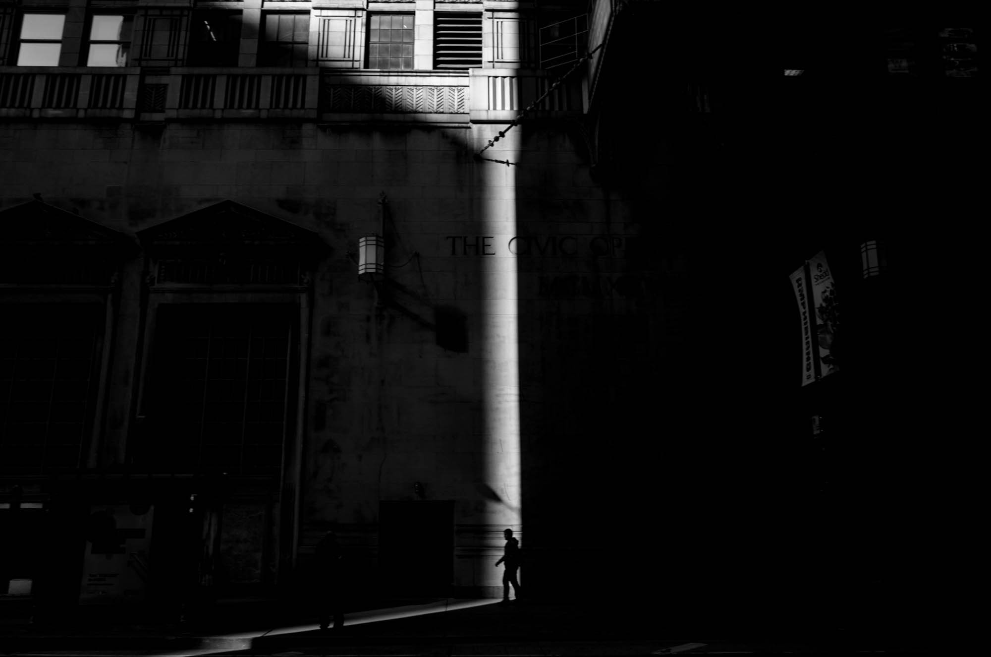 A silhouette in downtown Chicago