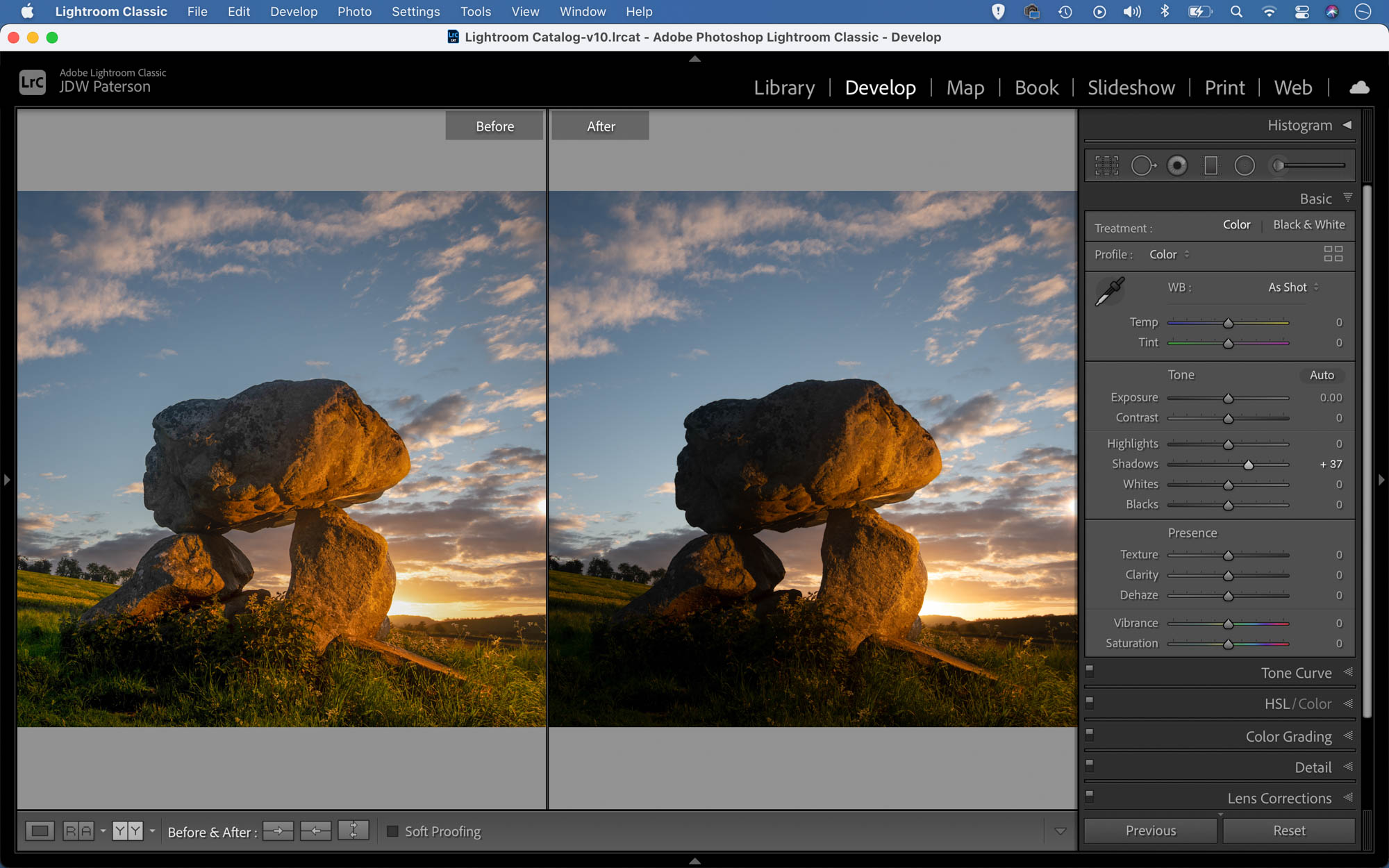 View of two versions of an image as seen in Lightroom