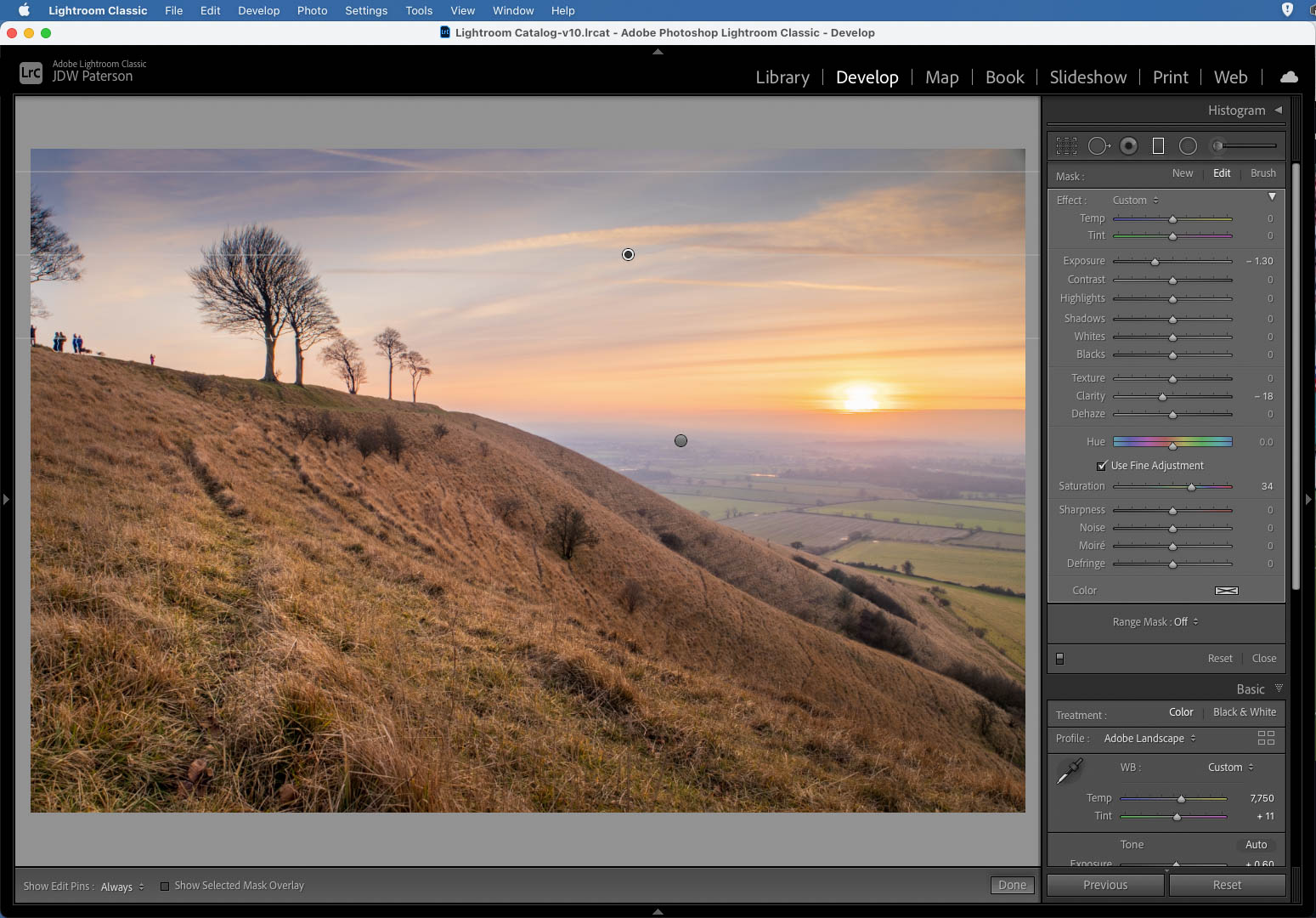 Screenshot showing the graduated filter tools in Lightroom