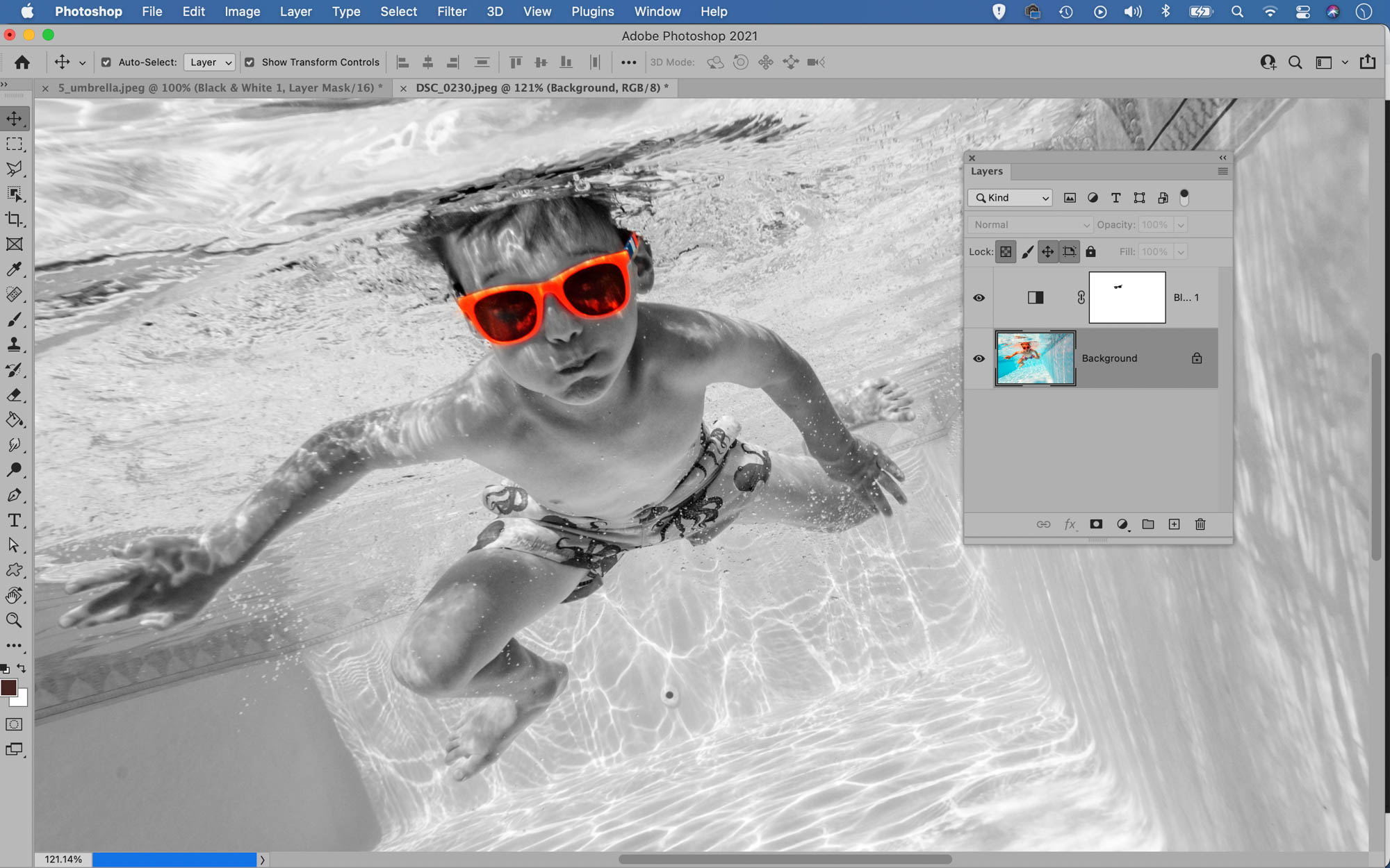 Example of spot colouring in Photoshop