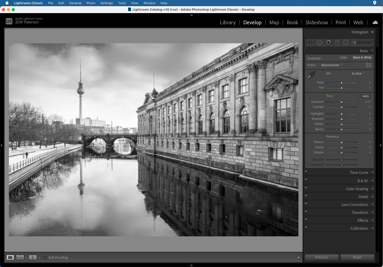 Screenshot showing a quick black and white conversion in Adobe Lightroom