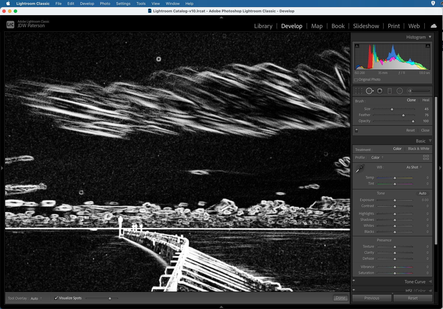 The Visualise Spots as seen in Adobe Lightroom