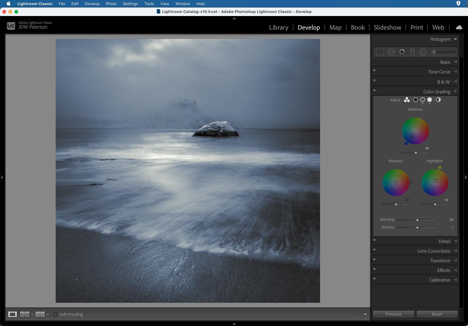 Screenshot showing the Color Grading wheels in Adobe Lightroom