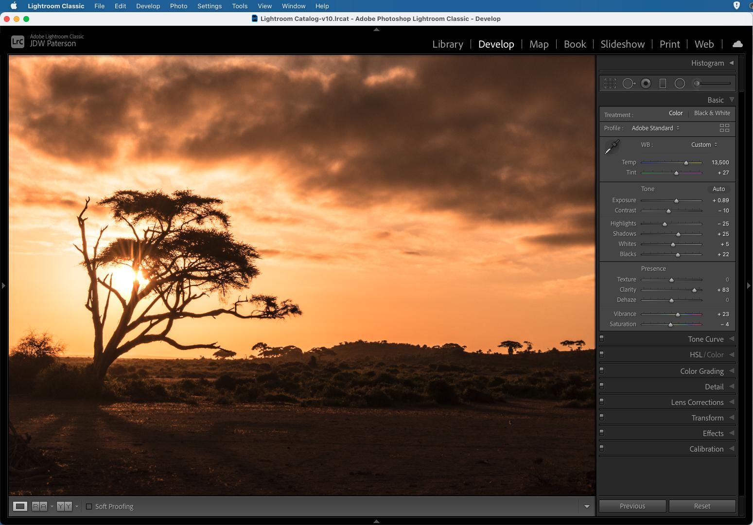 Screenshot showing tonal sliders in Adobe Lightroom