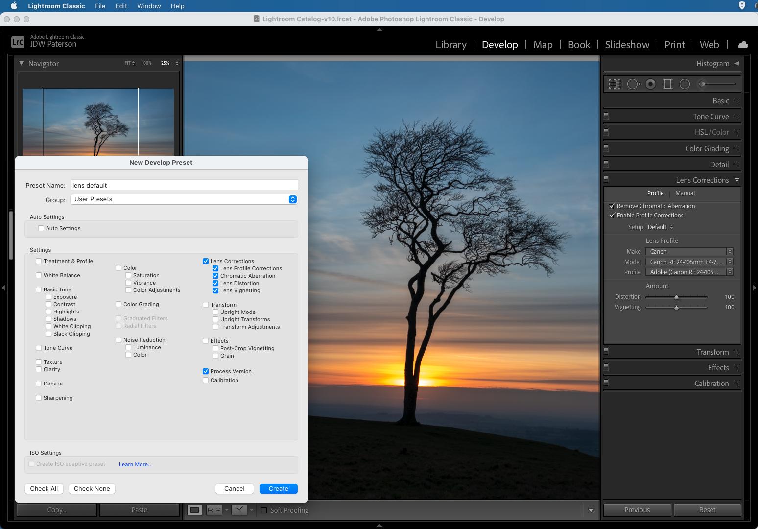 Screenshot showing Develop Preset creation in Adobe Lightroom