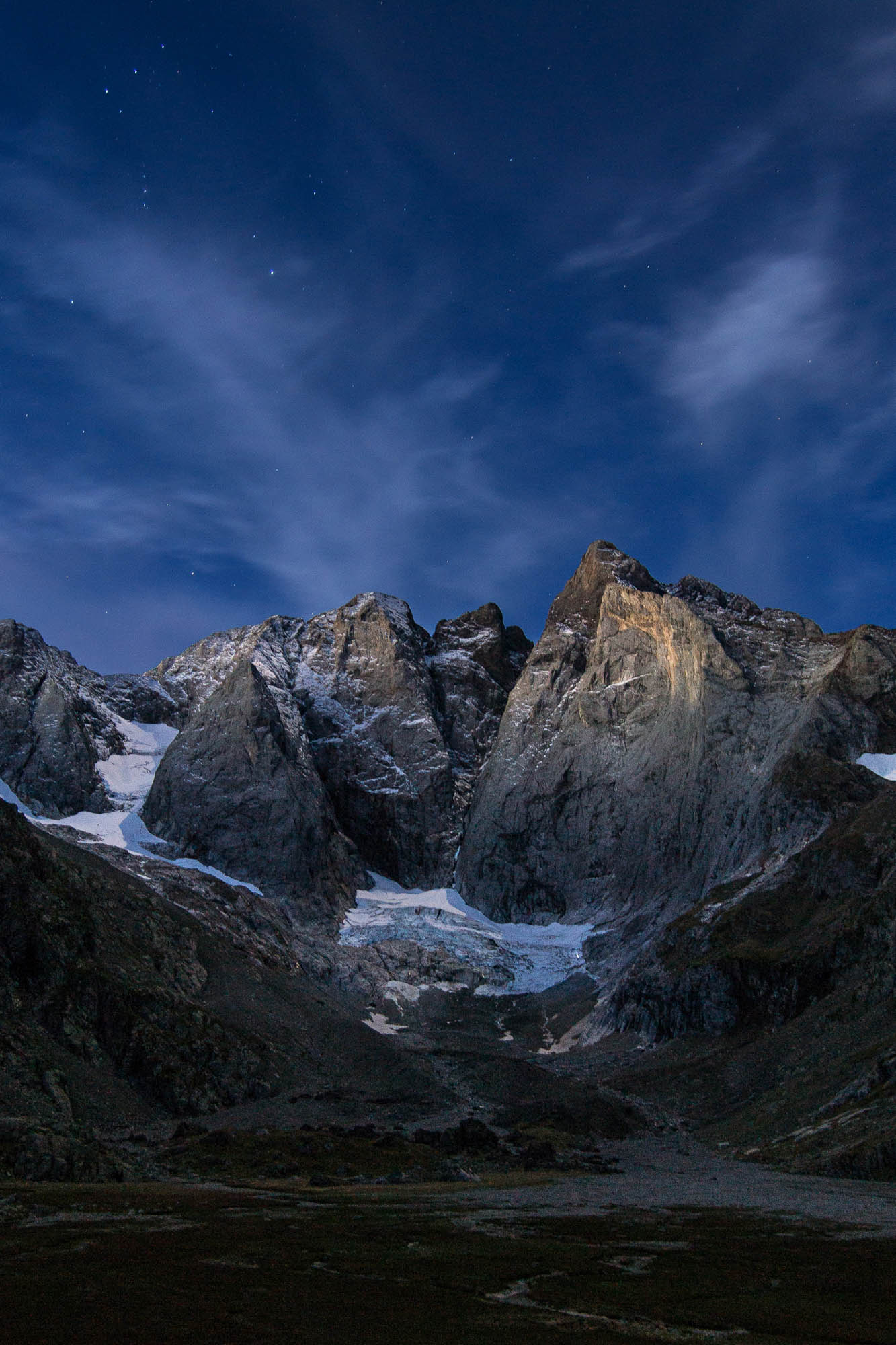 The great north face of Vignemale at night
