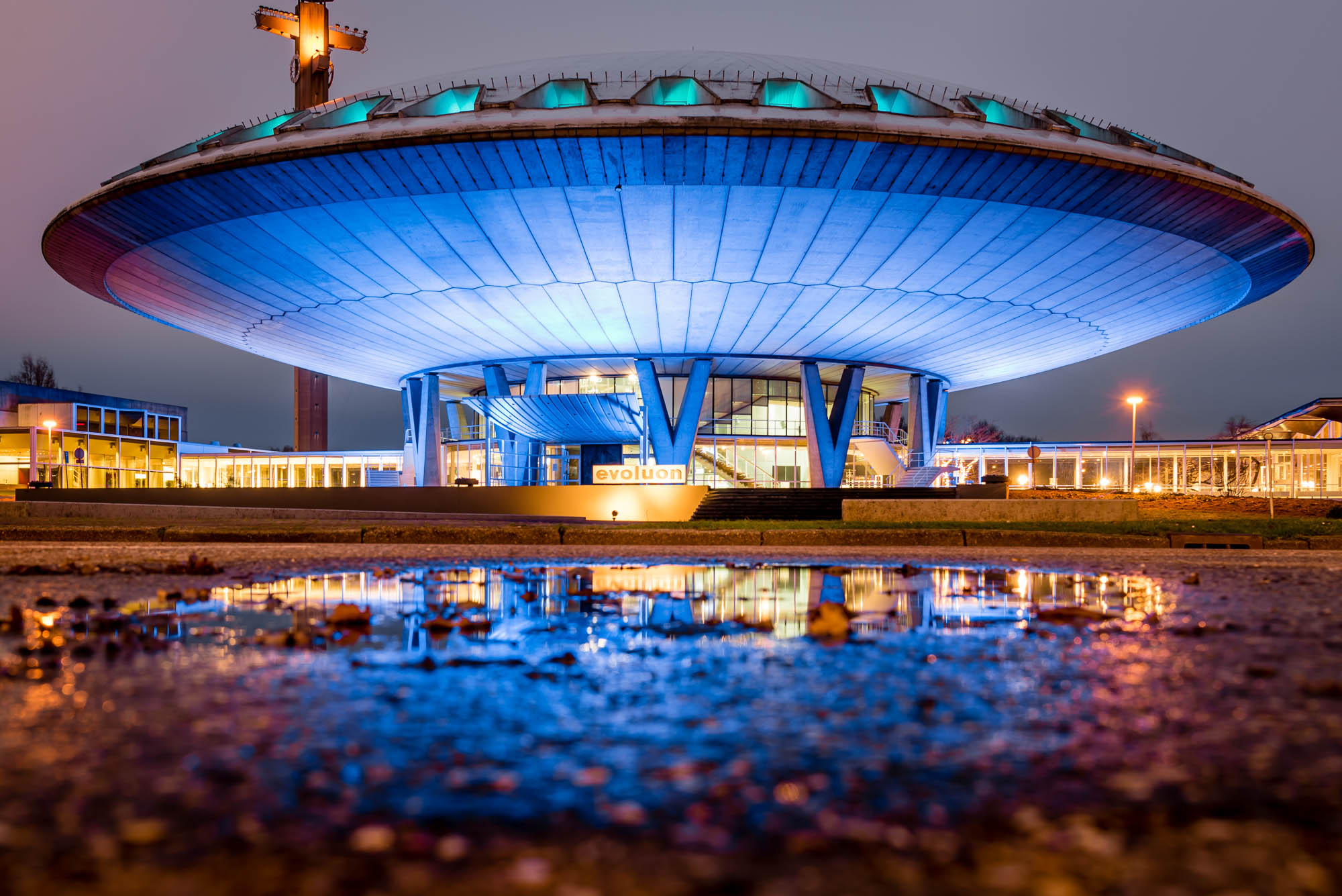 The Evoluon in Eindhoven, Netherlands, photographed from a low camera angle