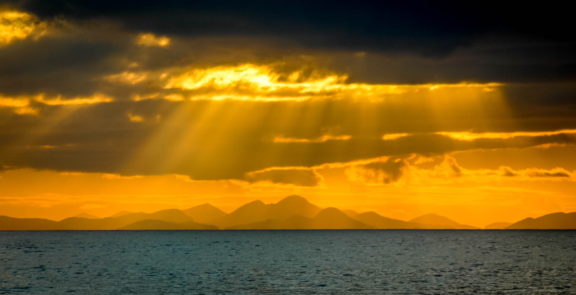 Looking to the Isle of Skye from Applecross at sunset