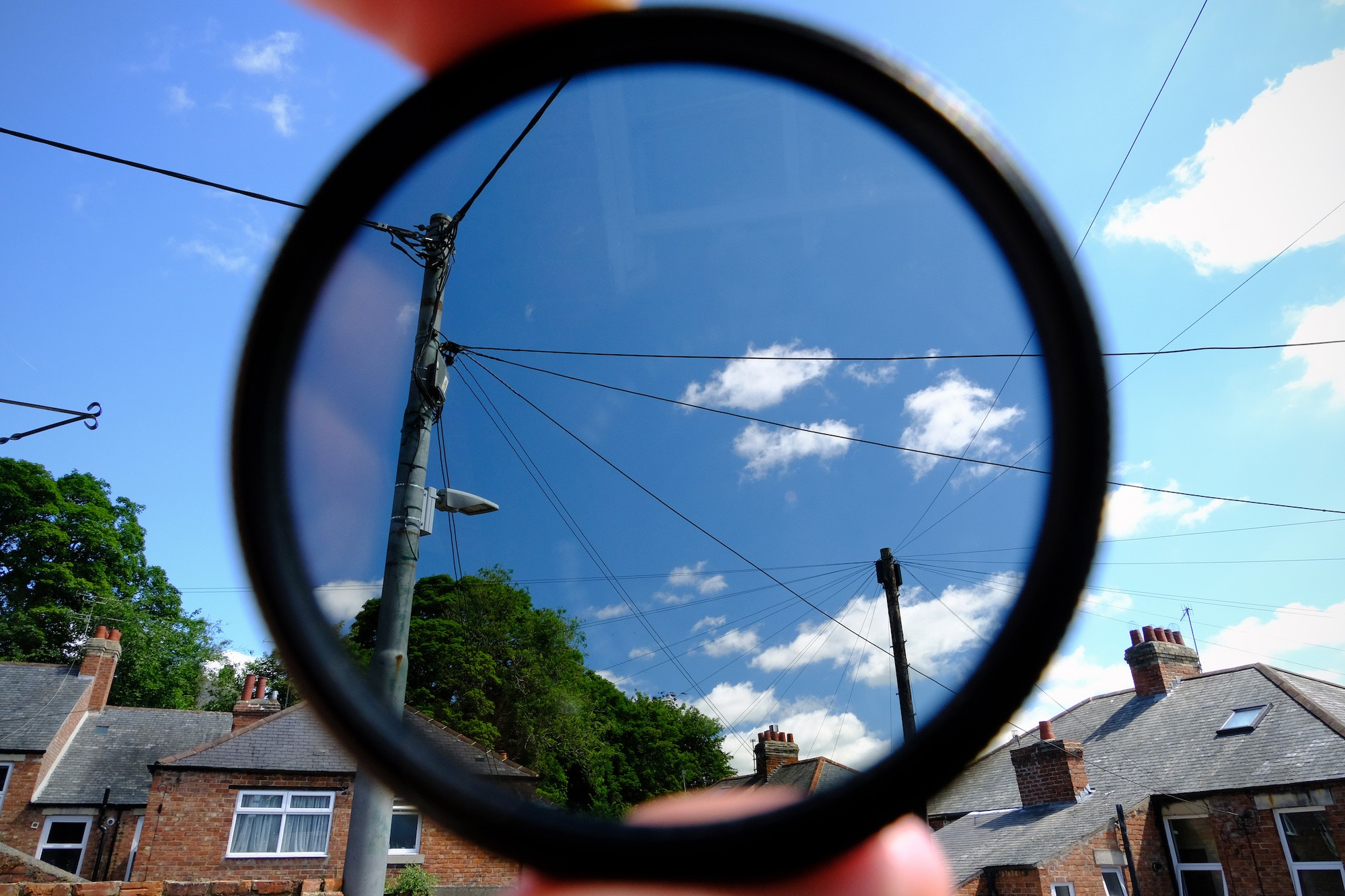 Looking at clouds through a polarizer filter