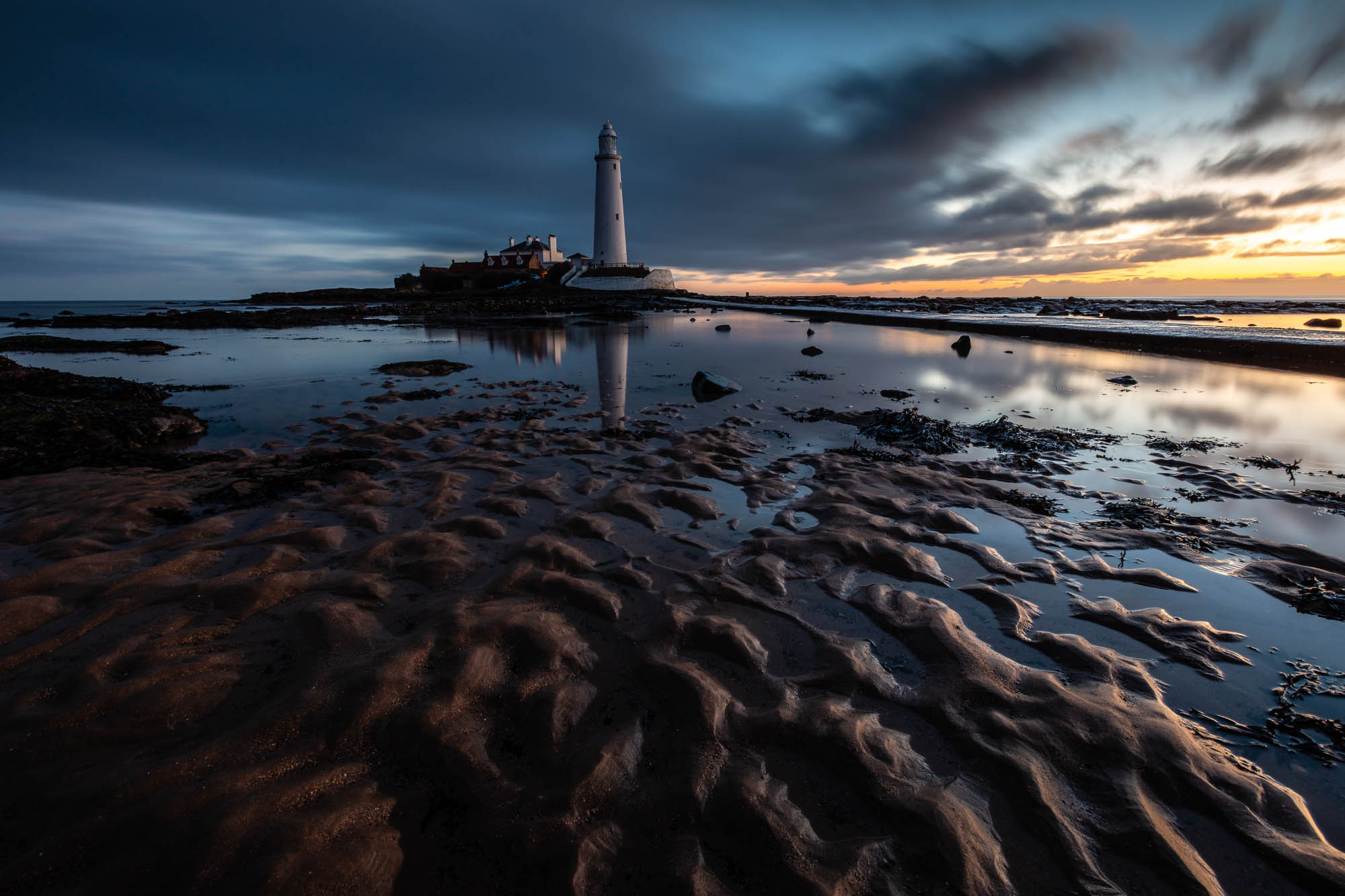 St. Mary's Lighthouse at dawn, Northumberland